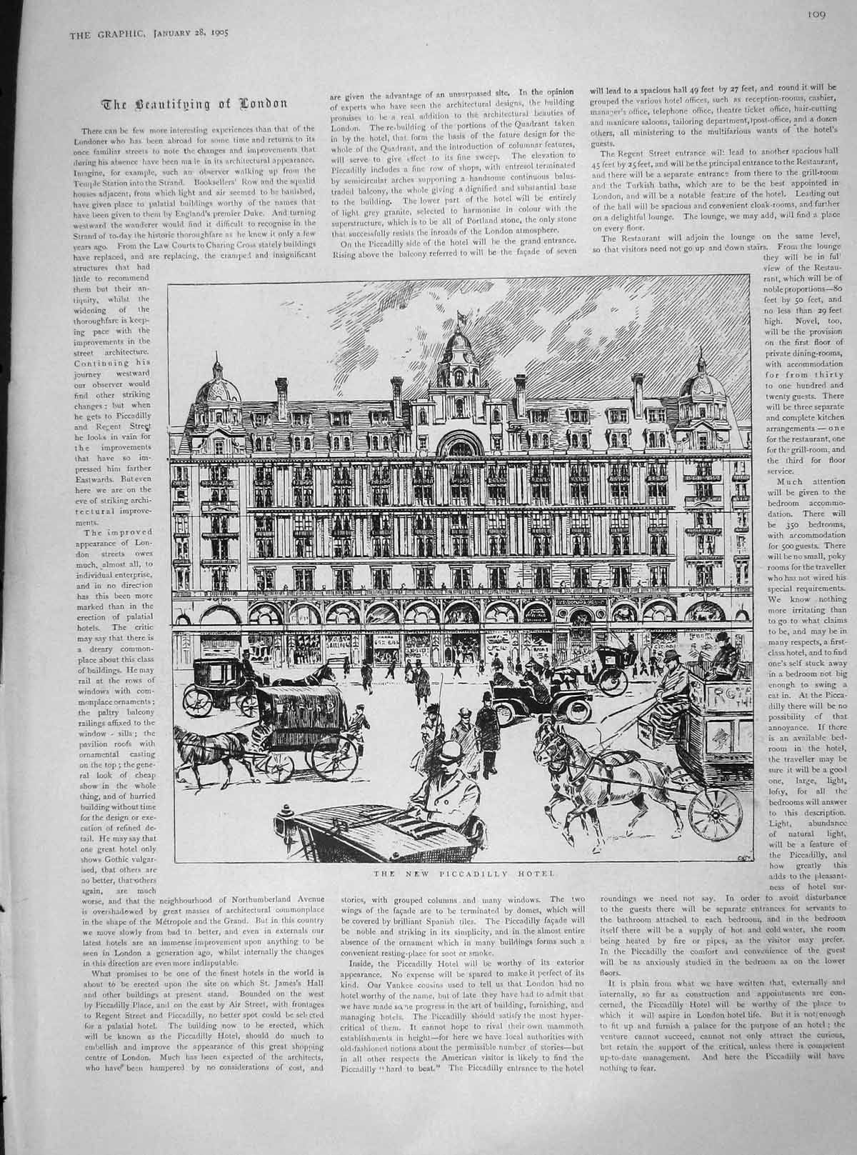 [Print 1905 Piccadilly Hotel London Anthony Hope Boughton 109M171 Old Original]