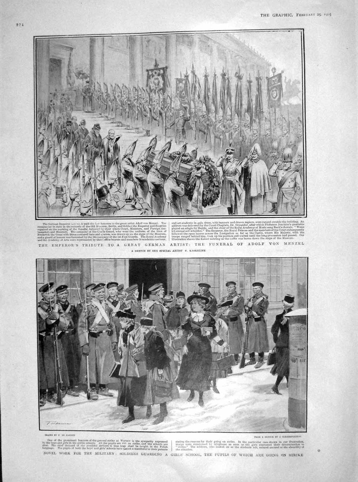 [Print 1905 Funeral Adolf Menzel Girls School Submarine War 224M171 Old Original]