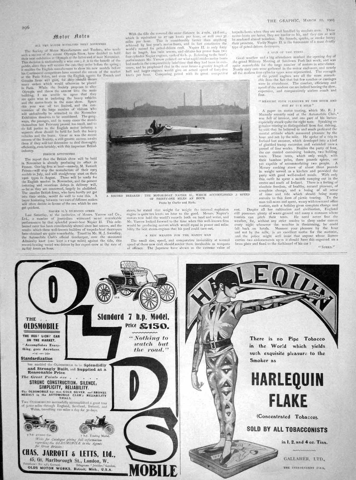 [Print 1905 Motor Boat Napier Record Breaker Sunlight Soap 296M171 Old Original]