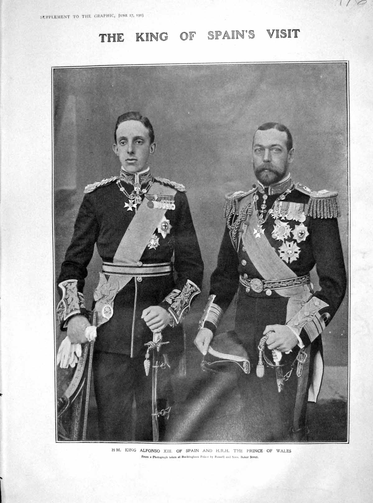 [Print 1905 King Alfonso Spain Prince Wales Guildhall Mayor 976M171 Old Original]