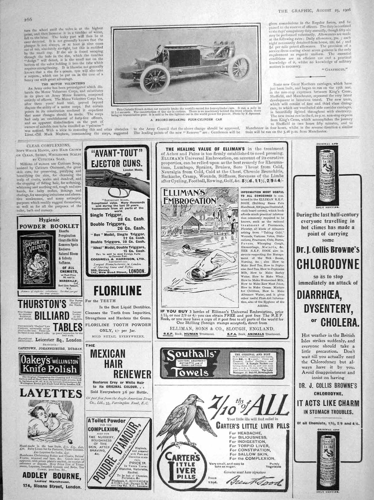 [Print 1906 Christie Direct-Action Four-Cylinder Car Carters 266M174 Old Original]