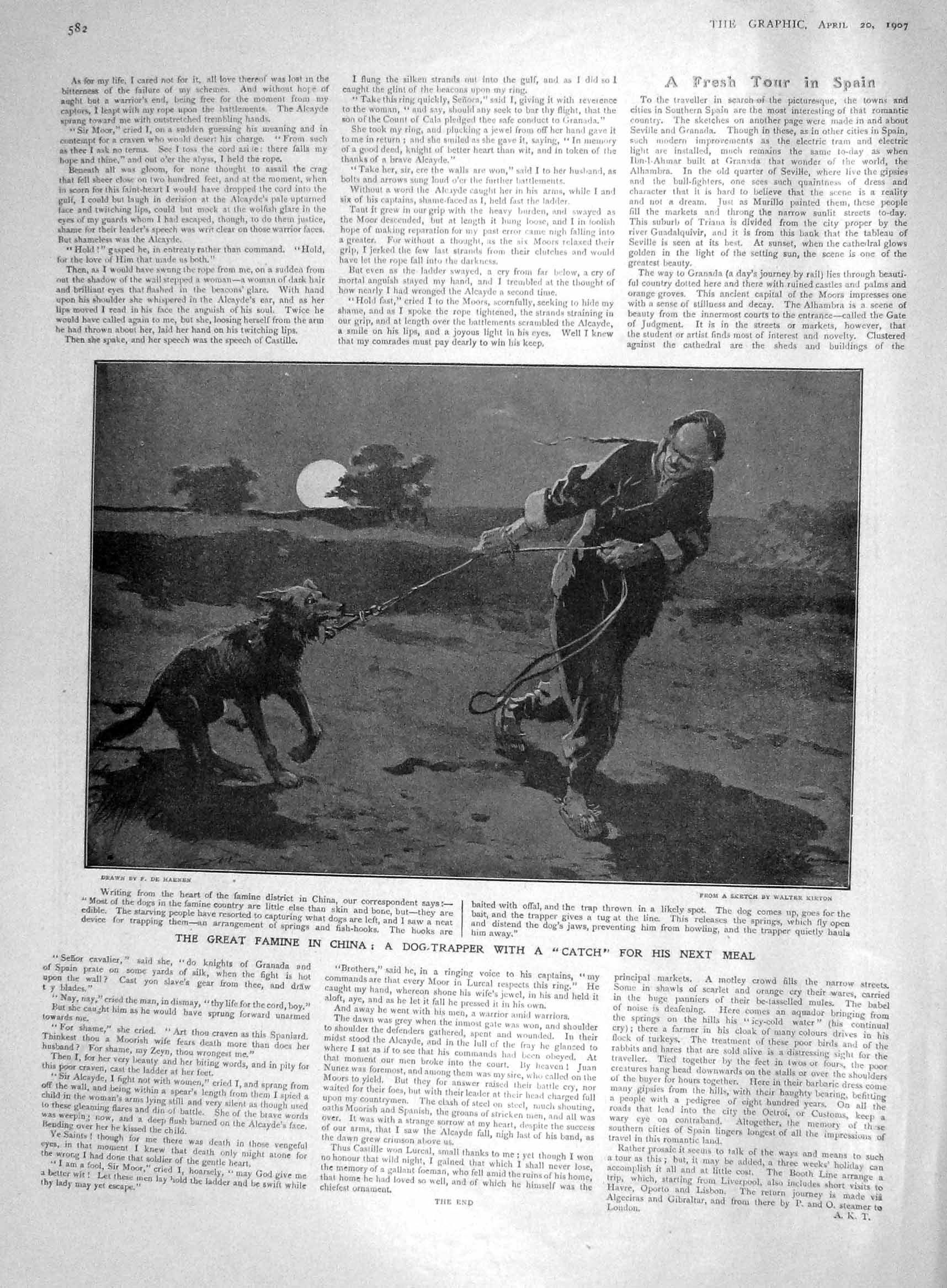 [Print 1907 Famine China Dog Trapper Hunting Chinese Man  Old Original]