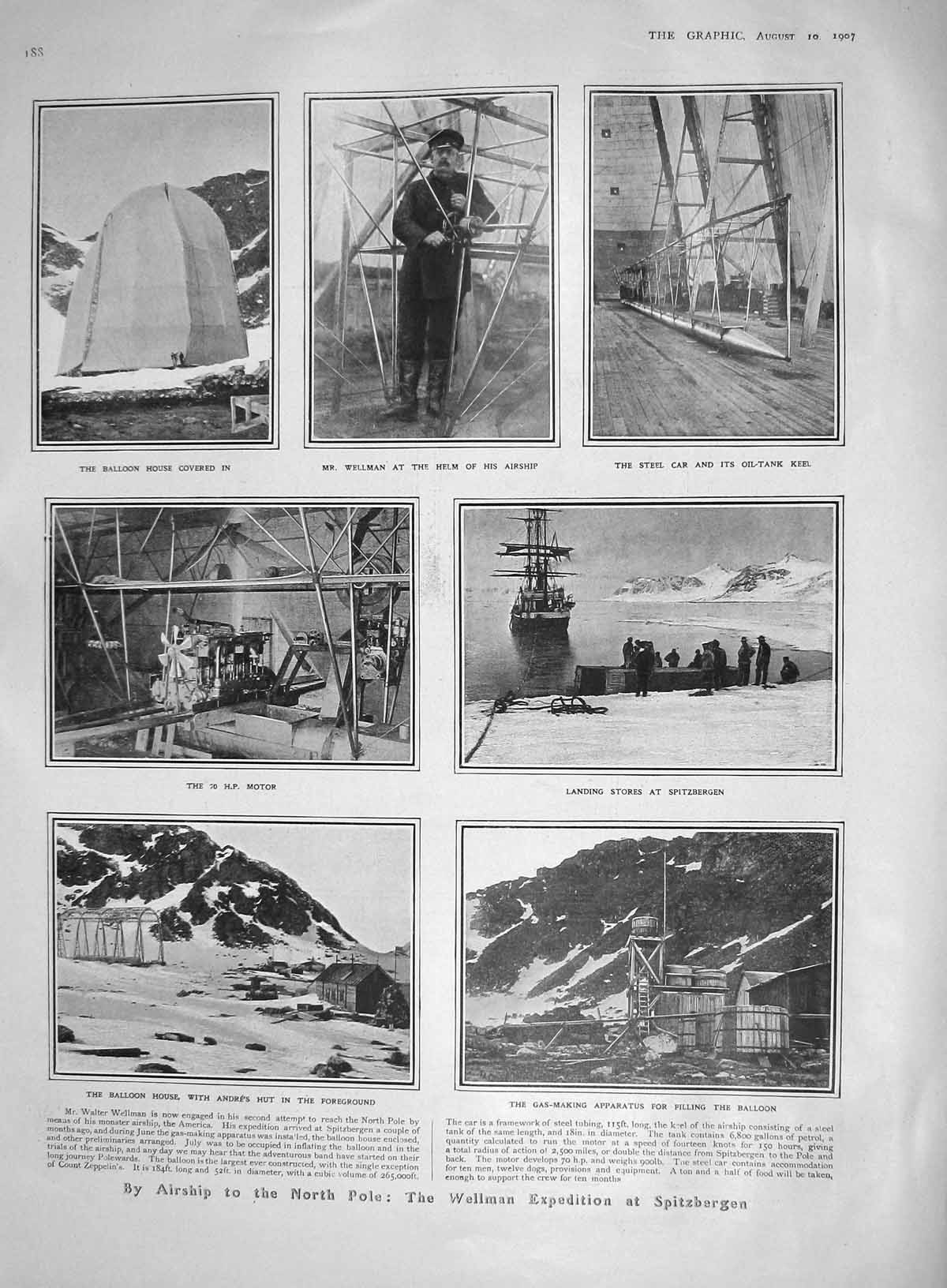 [Print 1907 Airship North Pole Spitzbergen Wellman Mint Africa 188M176 Old Original]