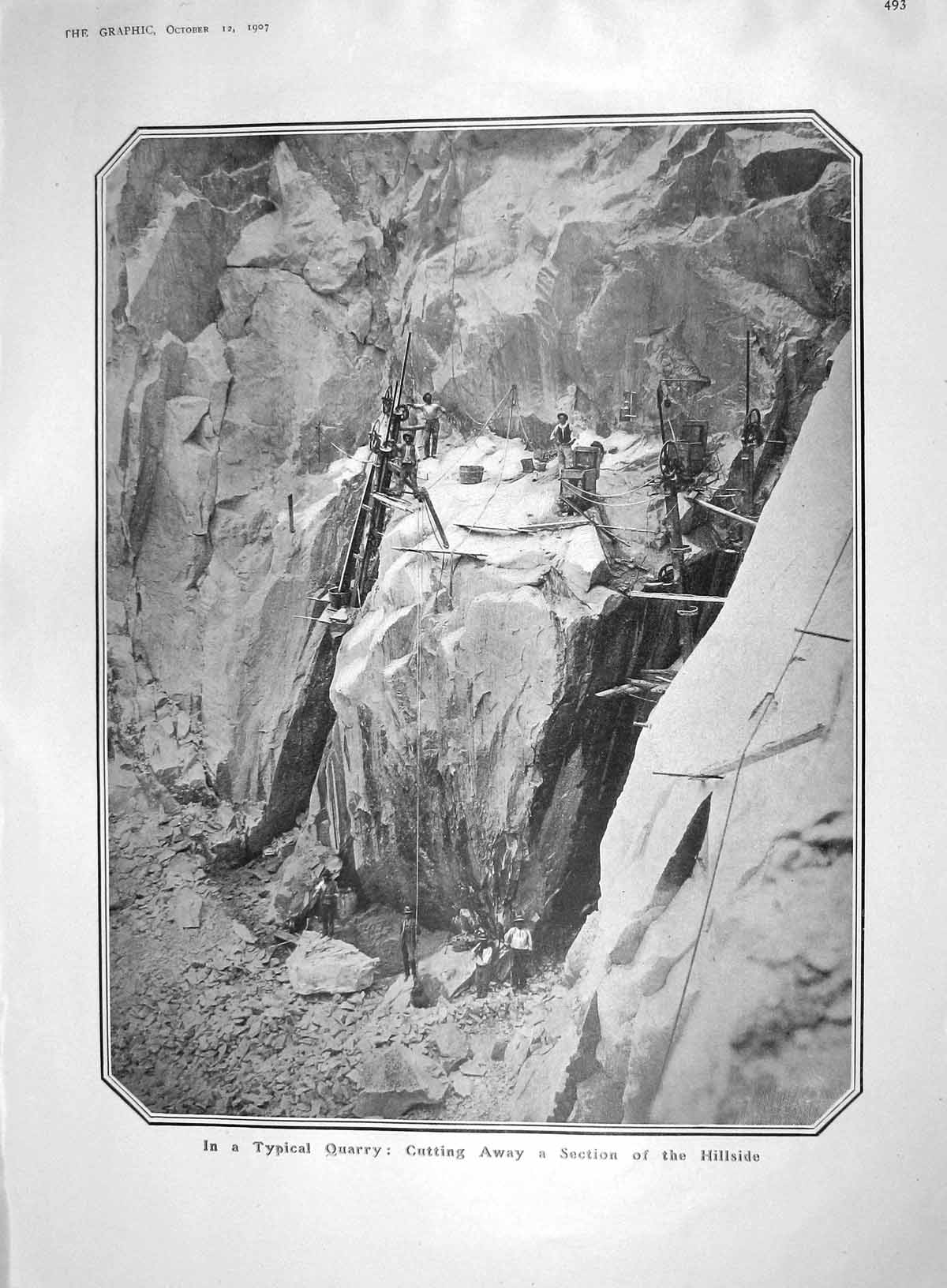 [Print 1907 Hillside Quarry Cutting Schon Africa Nairobi Will 493M176 Old Original]