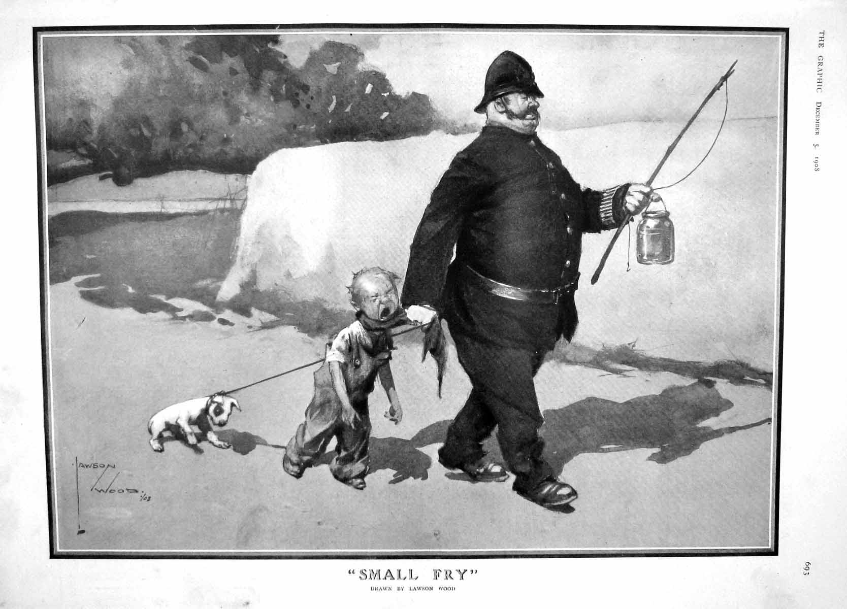 [Print 1908 Police Man Young Boy Dog Bille Osborne Prettyman 693M178 Old Original]