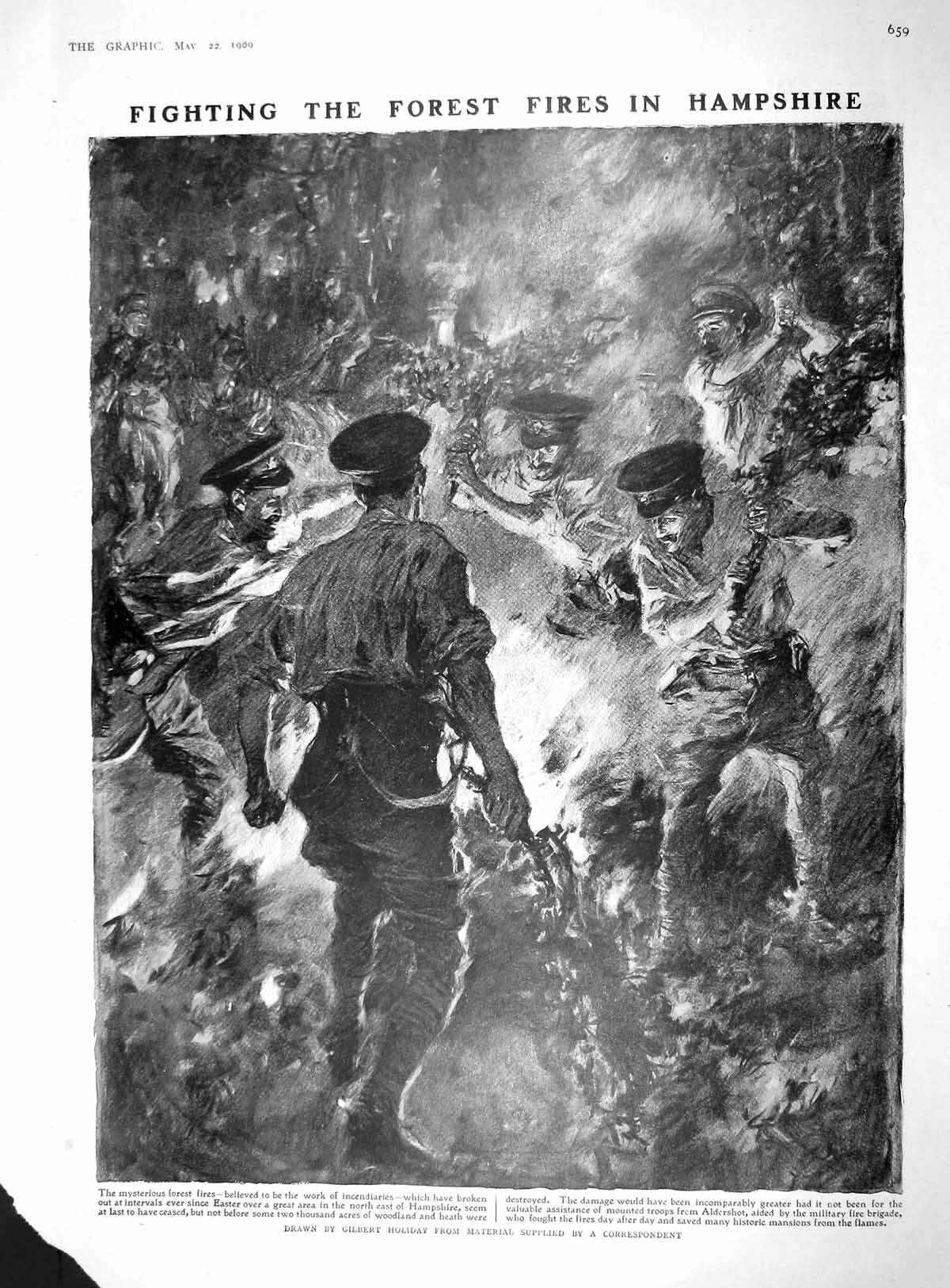 [Print 1909 Forest Fire Hampshire Soldiers Malta Ship Kaiser 659M179 Old Original]