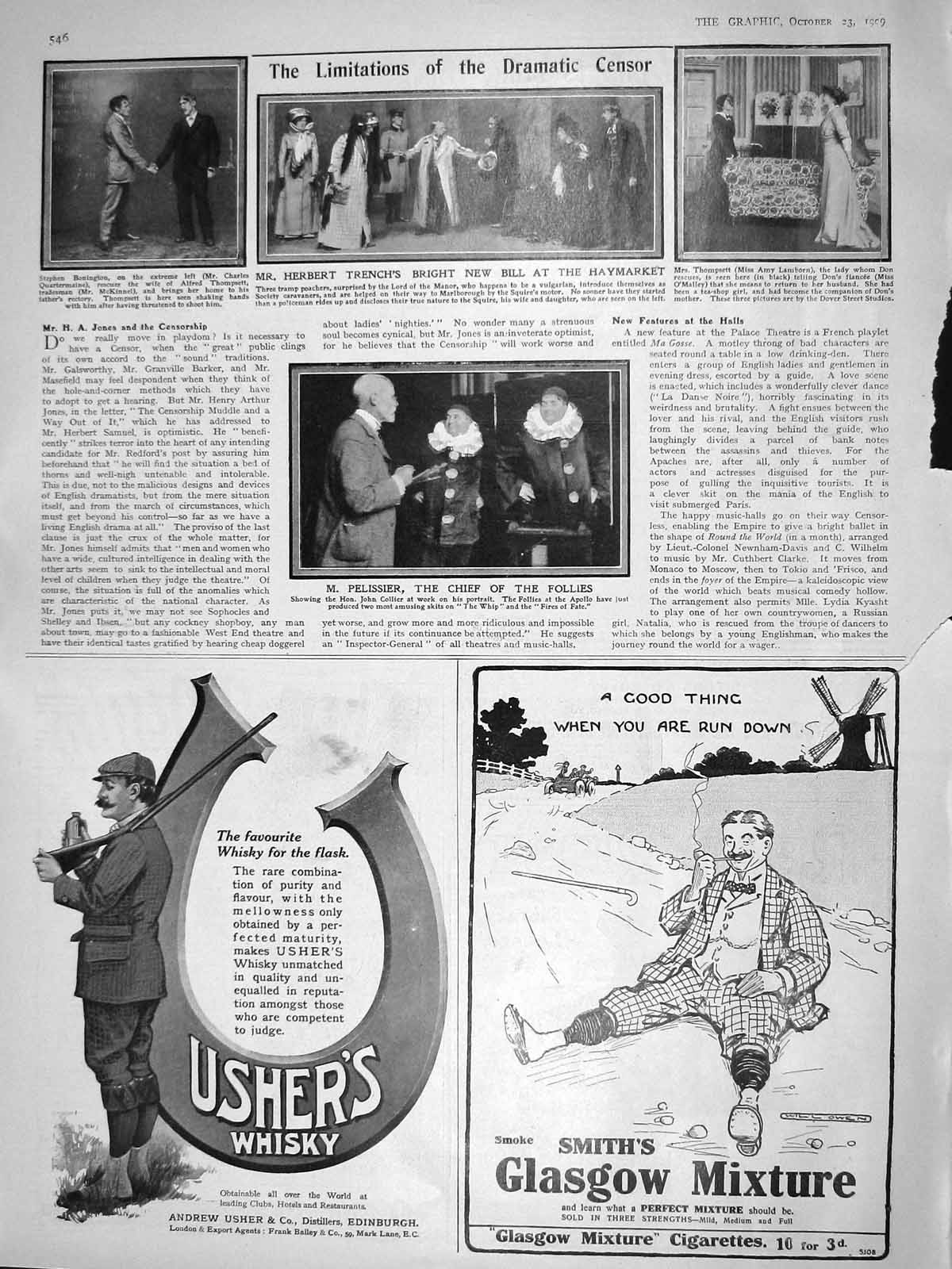 [Print 1909 Herbert Trench Haymarket Pelissier Follies Theatre 546M180 Old Original]