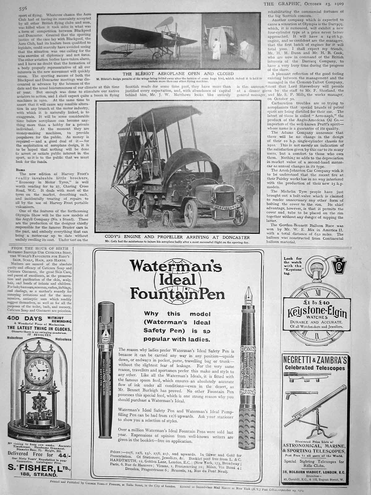 [Print 1909 Bleriot Aeroplane Cody Engine Doncaster Fountain 556M180 Old Original]