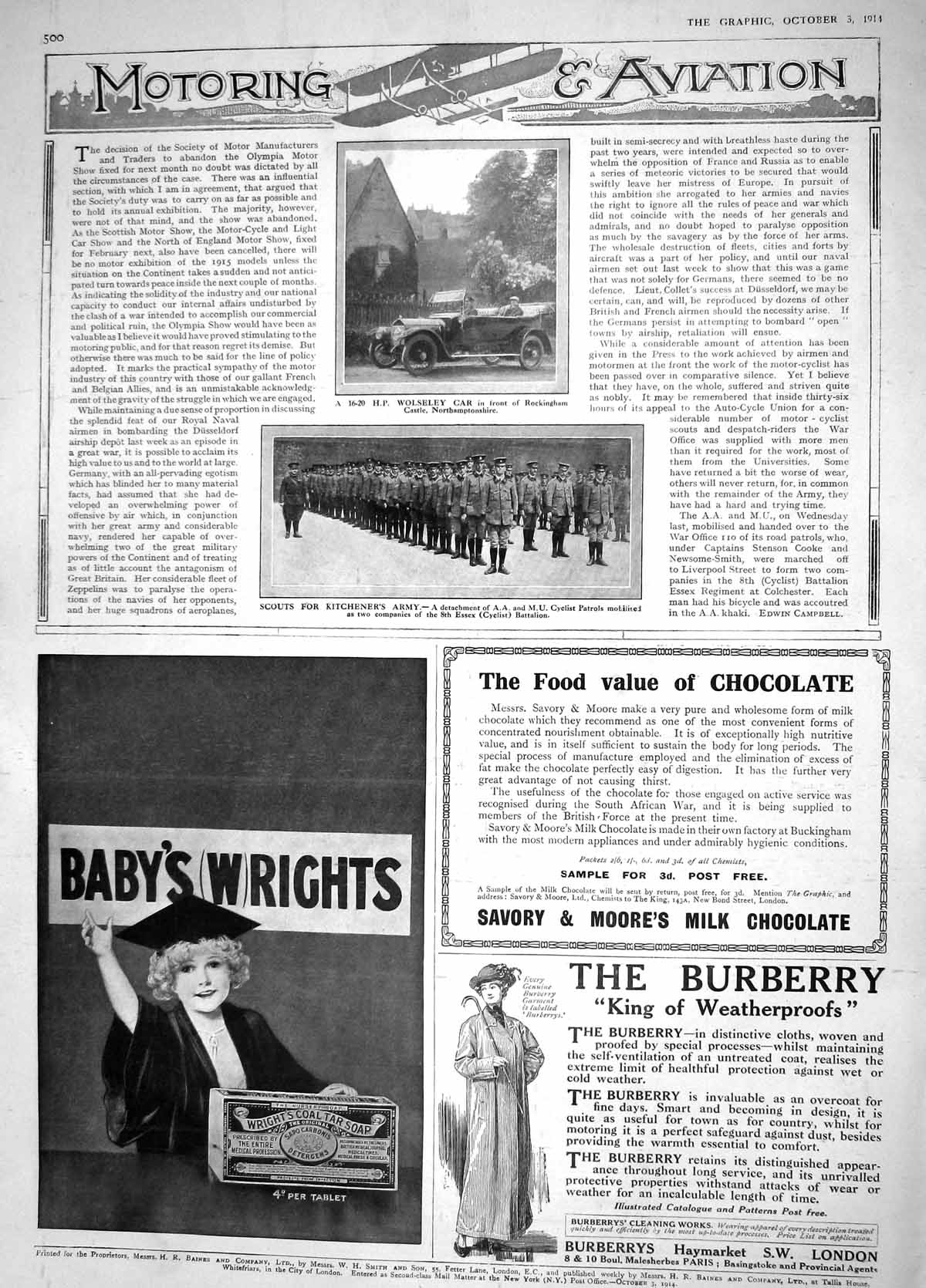 [Print 1914 Wolseley Motor Car Scouts Kitcheners Army Essex 500M190 Old Original]