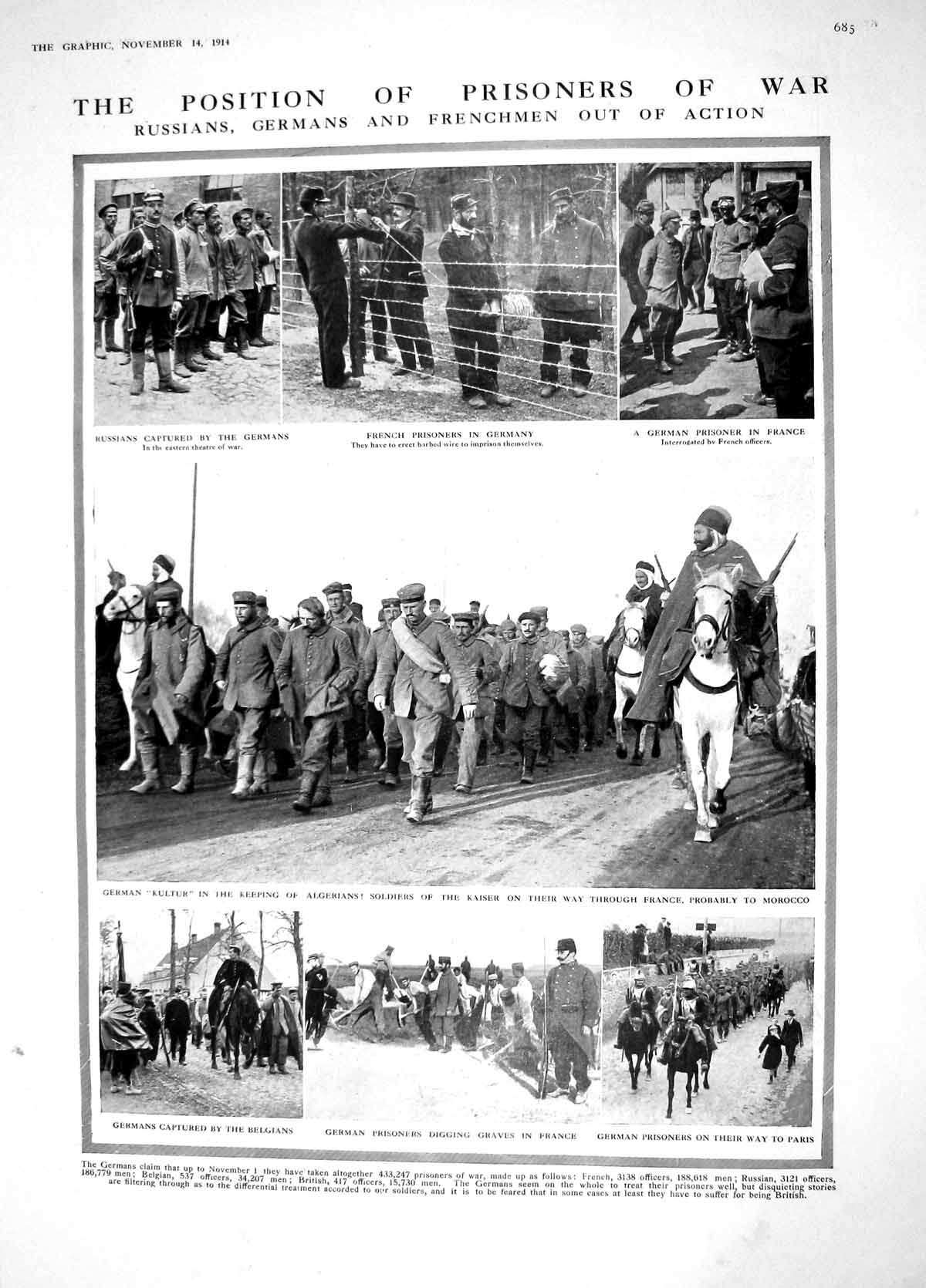 [Print 1914 French Prisoners War Germany Kultur Onslow Kinloss 685M190 Old Original]