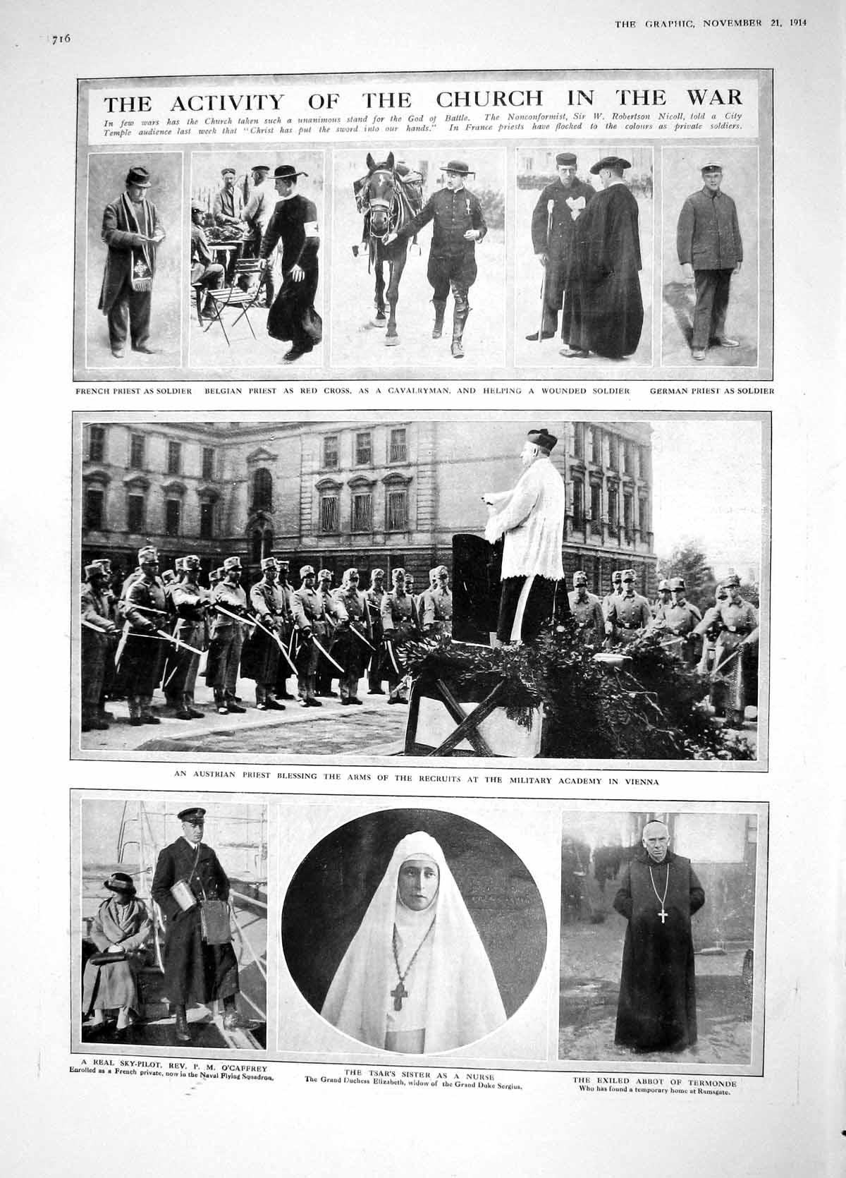 [Print 1914 Belgian Priest Red Cross Nurse Abbot War Welch Ley 716M190 Old Original]