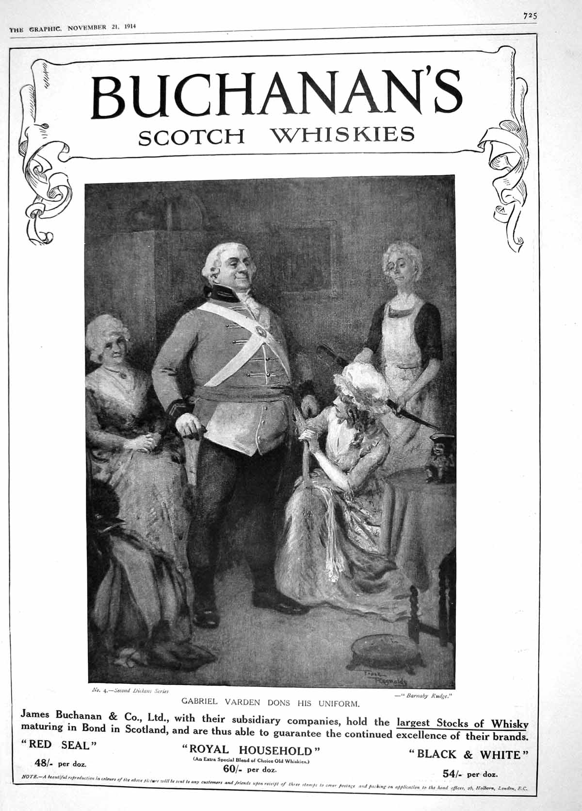 [Print 1914 Buchanan'S Scotch Whisky Henry Prince Wales Gill 725M190 Old Original]