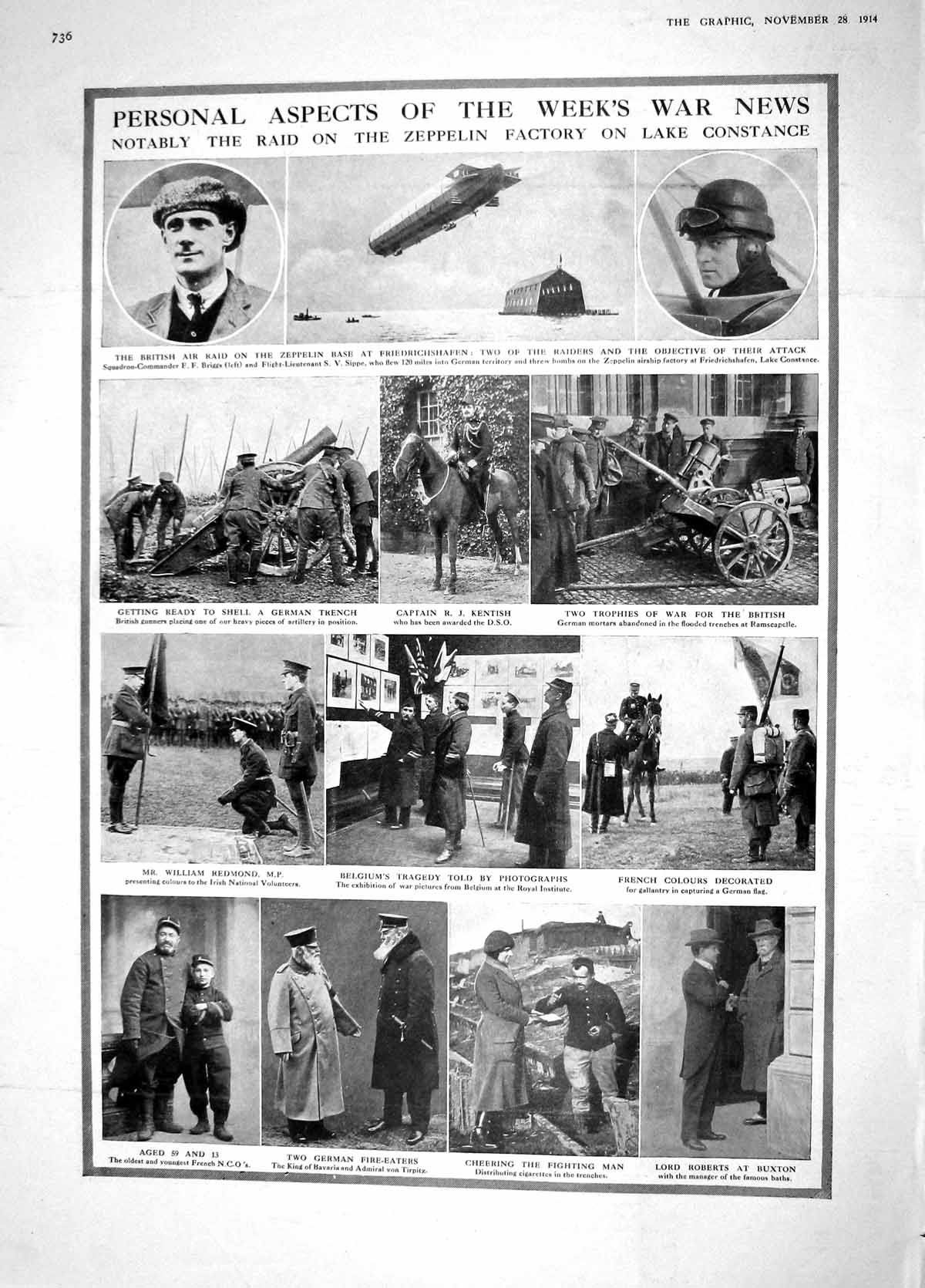 [Print 1914 Zeppelin Kentish War Roberts Redmond Ypres Bastion 736M190 Old Original]