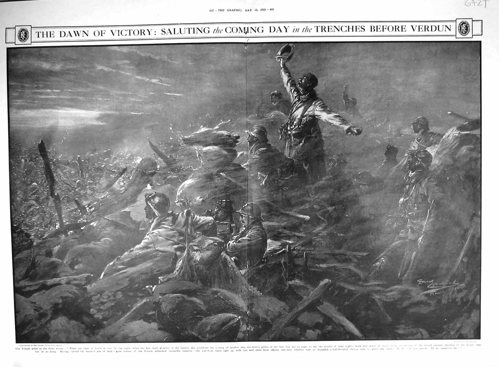 [Print 1916 War Victory Saluting Soldiers Trenches Verdun France Paul Th 642Tm193 Old Original]