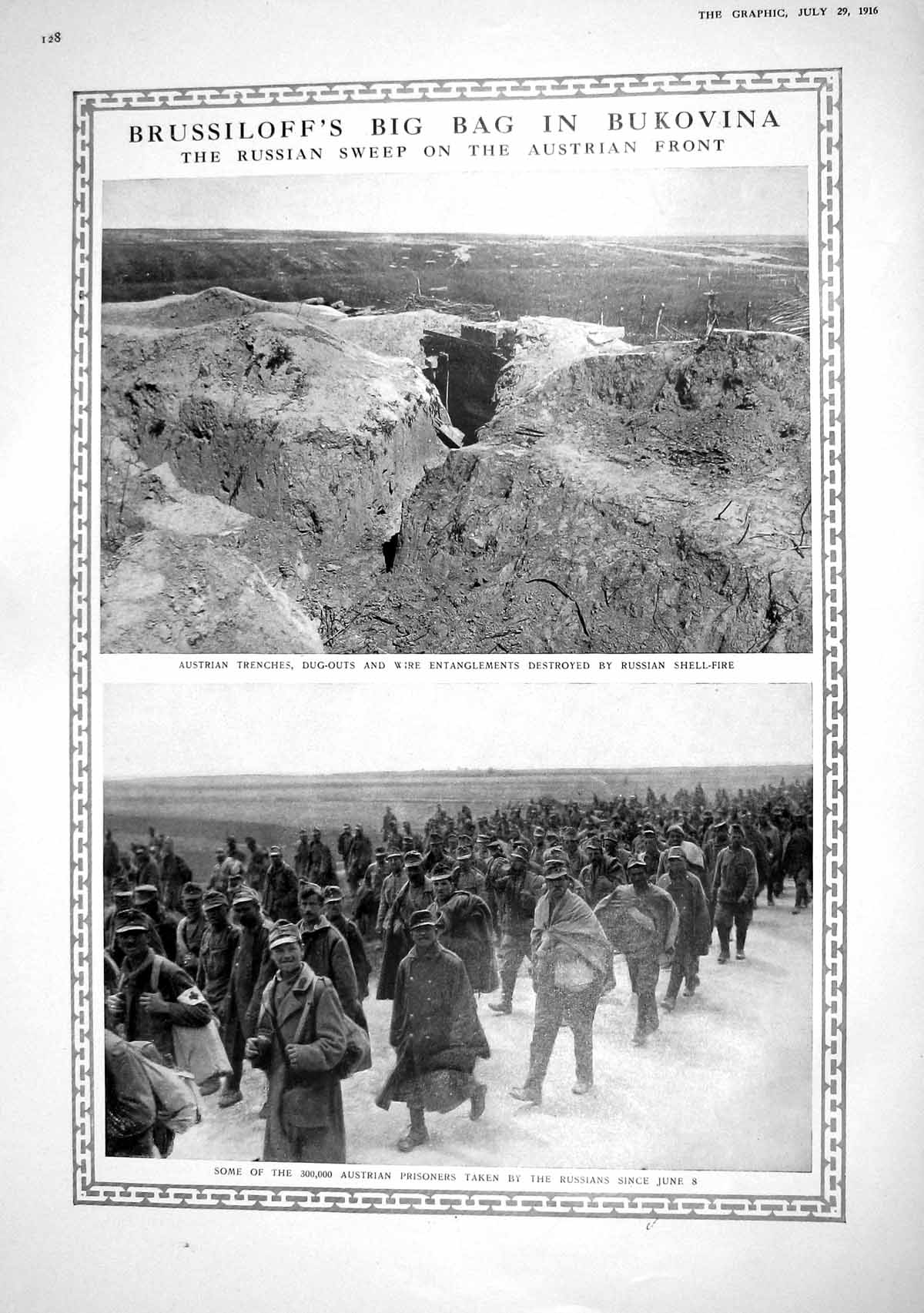 [Print 1916 Brussiloff Bukovina Austrian Front Trenches Belgian Front Re 128M194 Old Original]