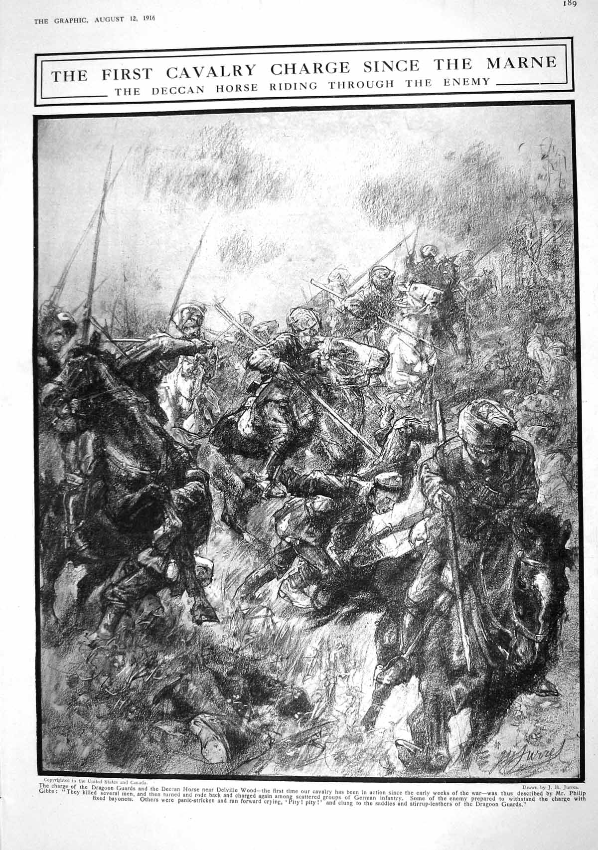[Print 1916 Deccan Horse Charge Dragoon Guards War Delville Wood Red Cross Shelter Old Original]