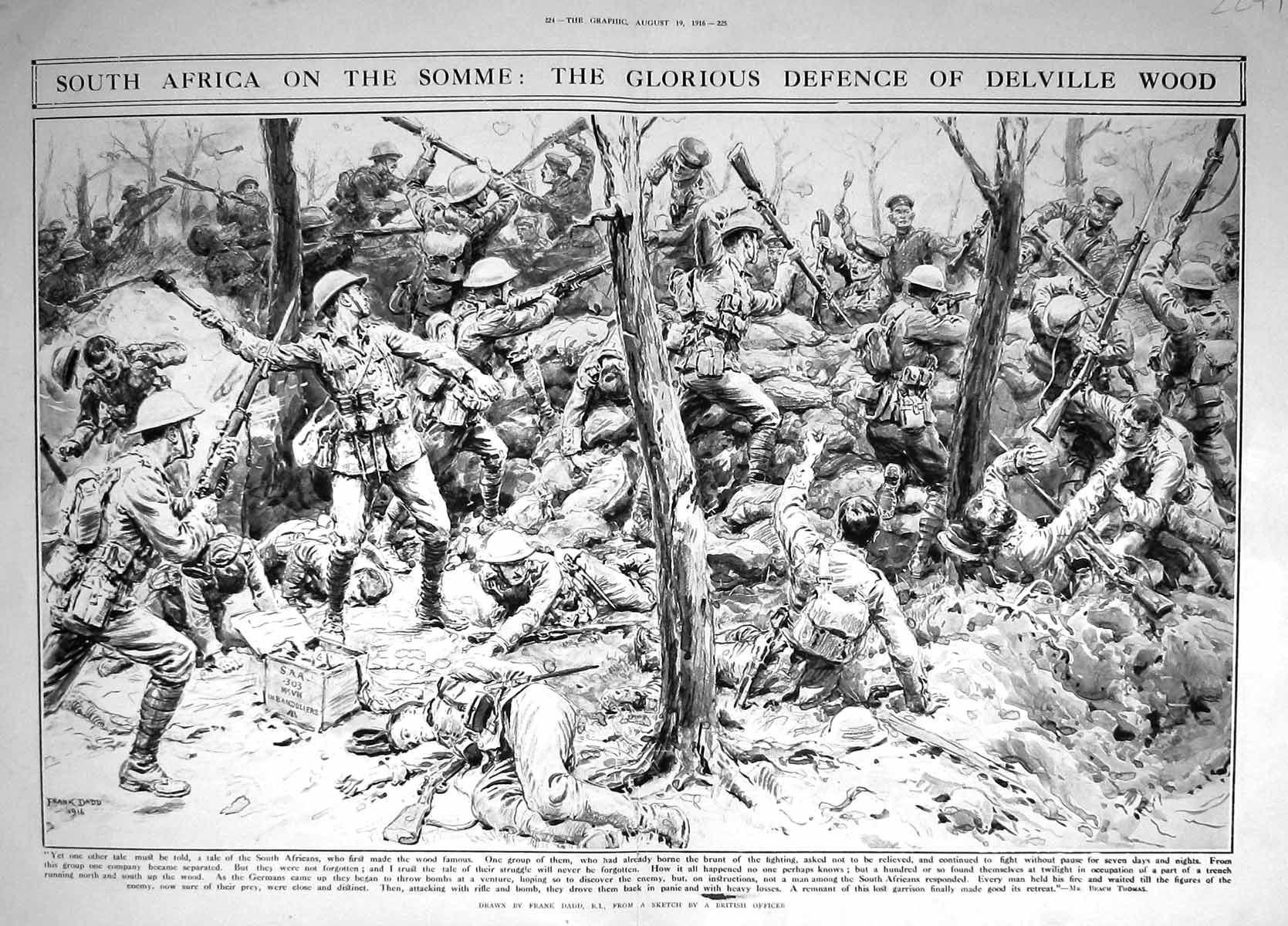 [Print 1916 War South Africa Somme Soldiers Battle Defence Delville Wood Thomas  Old Original]