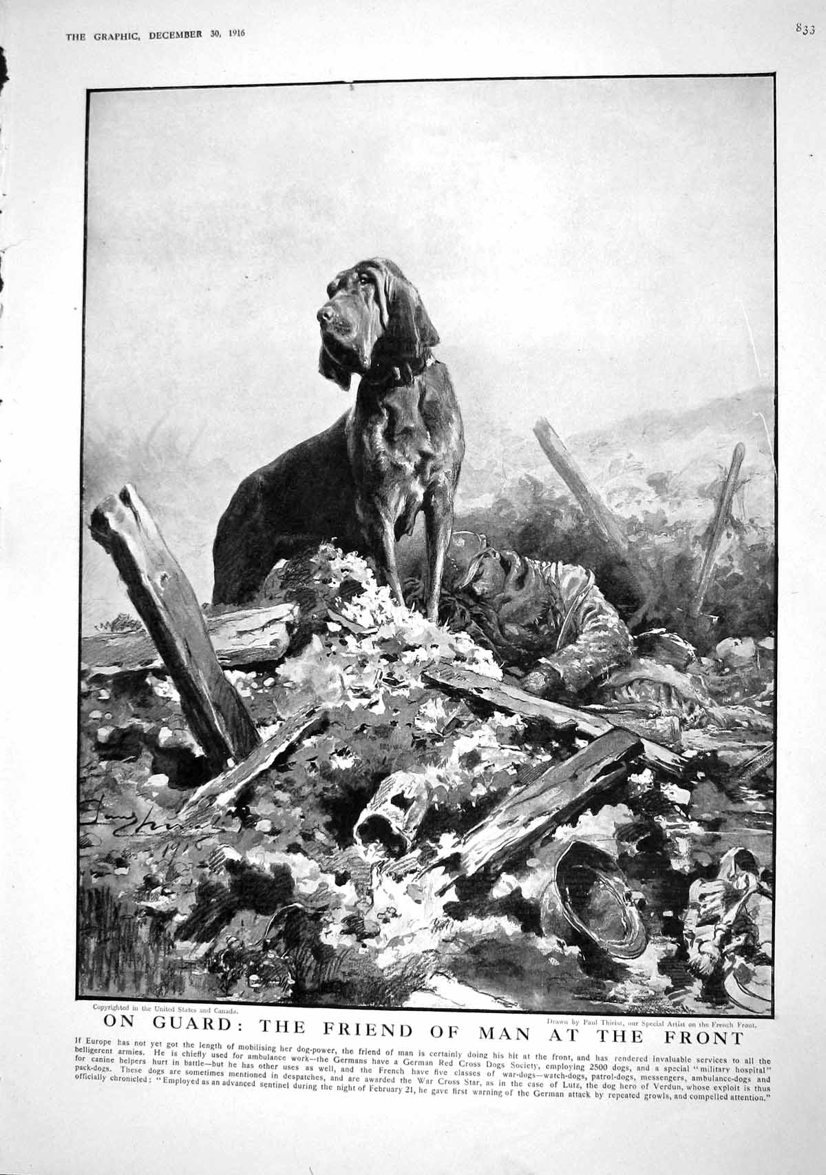 [Print 1916 War Ambulance Dog Soldier Y.M.C.A. Motor Cars Chariots Londo 833M194 Old Original]