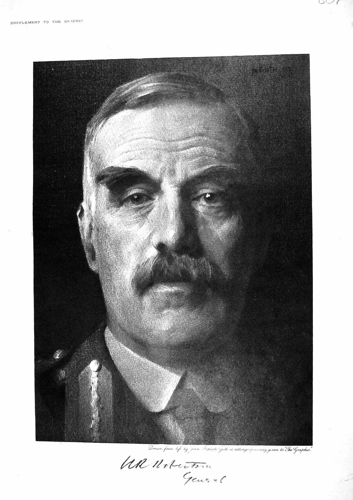 [Print 1917 Portrait General Robertson World War 1 807M195 Old Original]