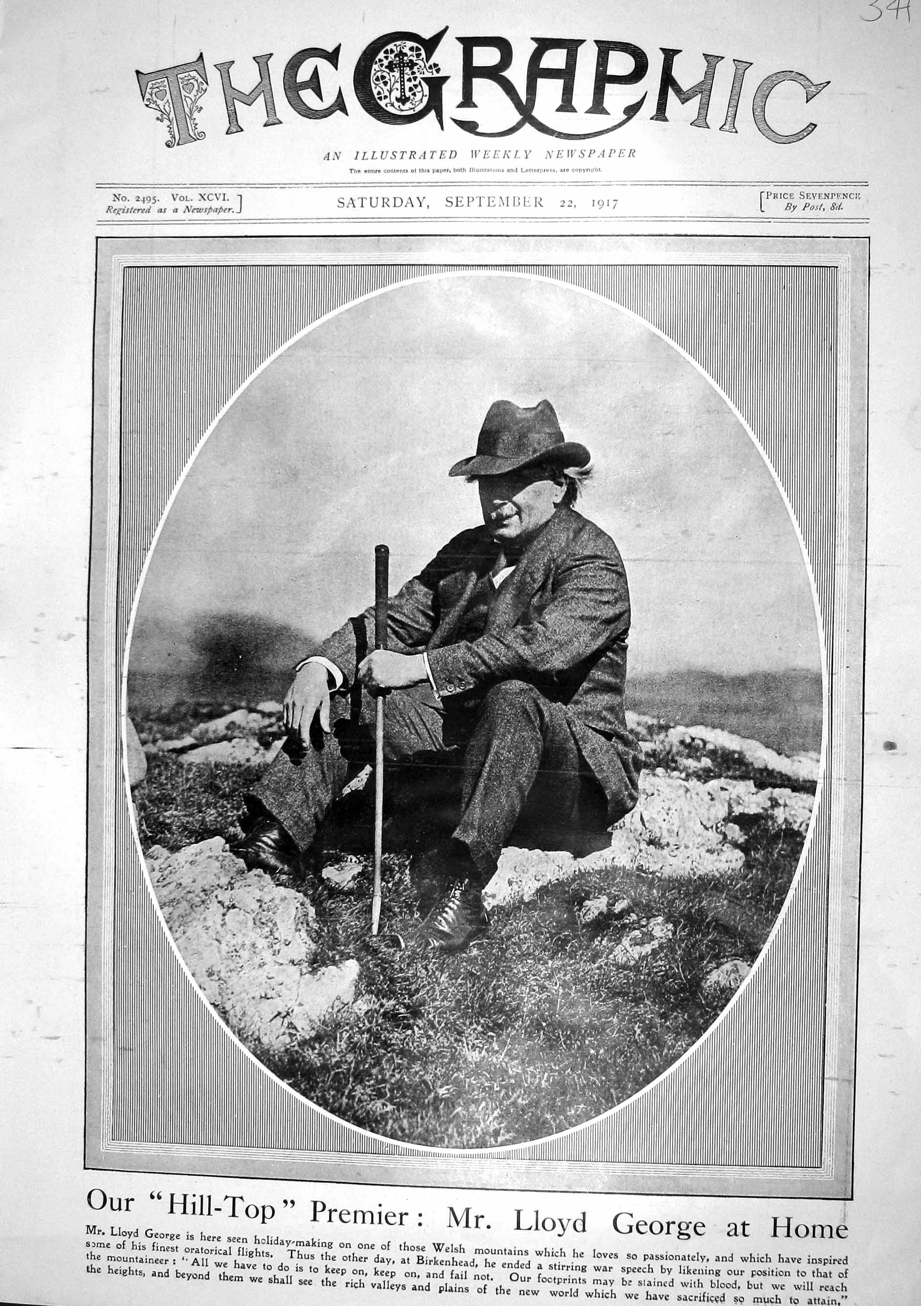 [Print 1917 Lloyd George Wales Mountain Painleve French Premier Canada L 341M196 Old Original]