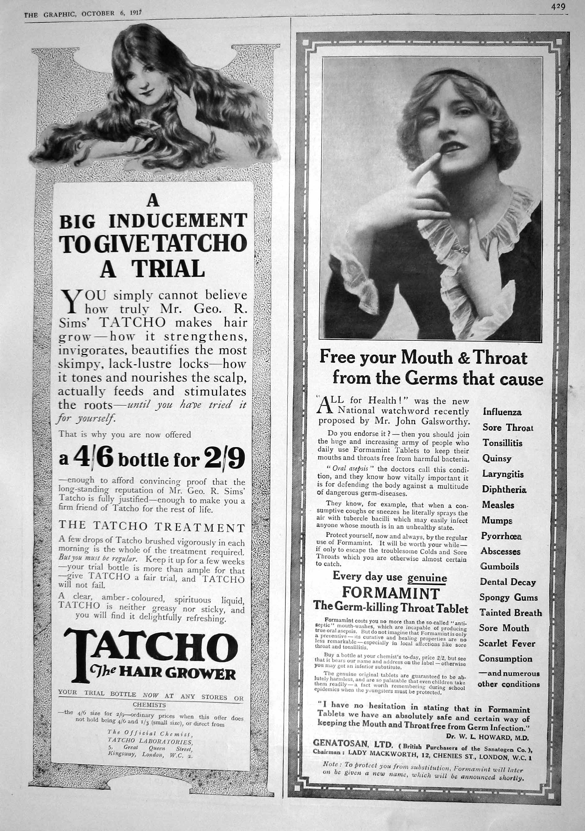 Print 1917 Tatcho Hair Grower Formamint Throat Tablet Mackworth 429M196 Old Original
