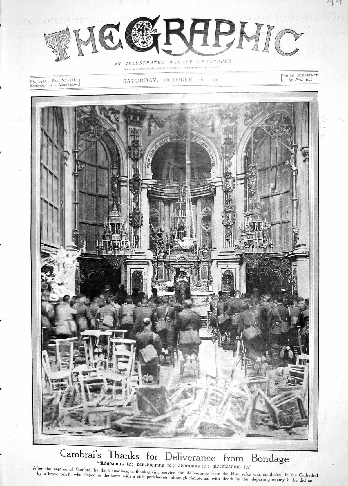 [Print 1918 Cathedral Cambrai Thanksgiving Canal Bruges Belfry Carillon 449M198 Old Original]
