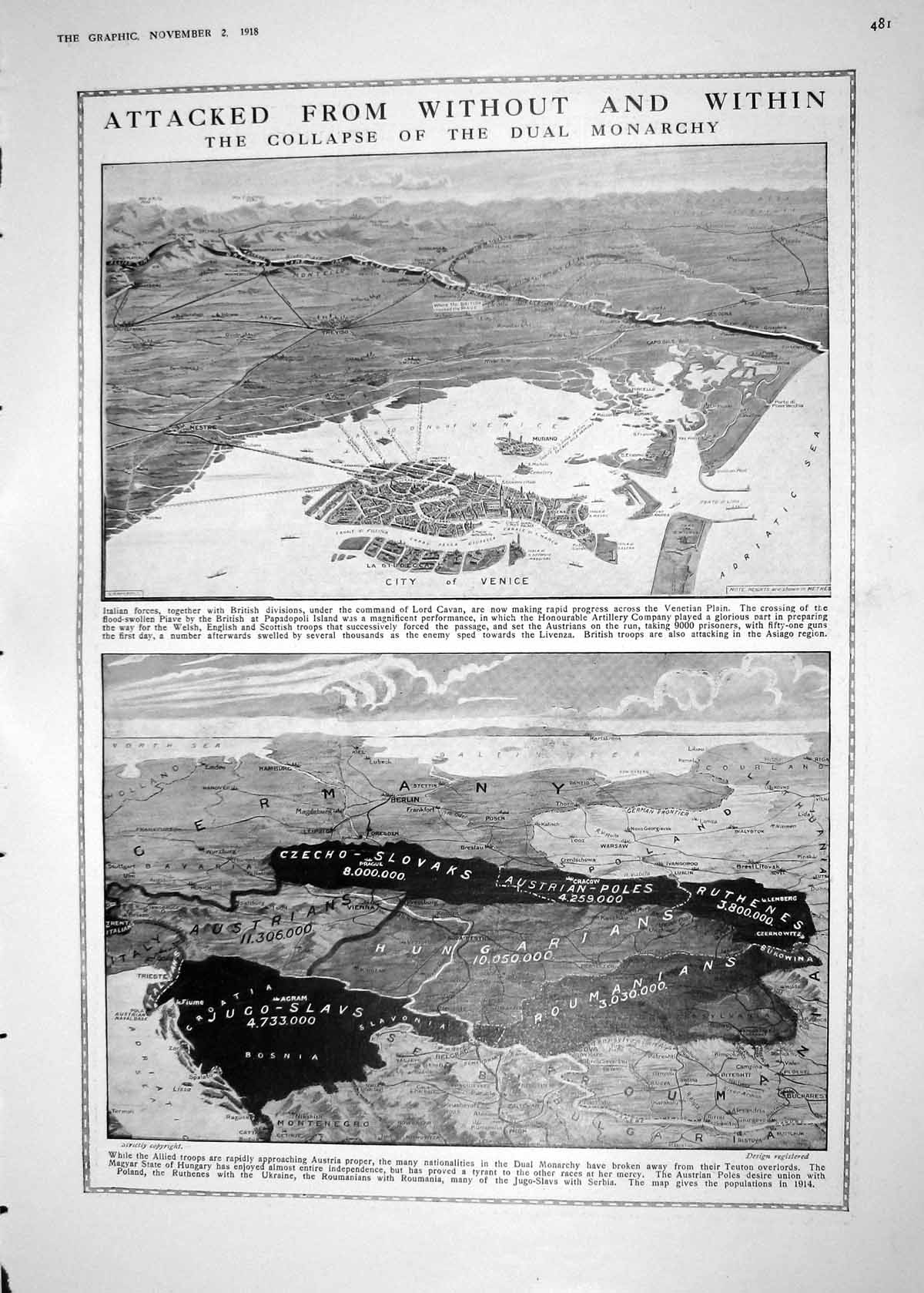 Print 1918 View Map Italy City Venice War Monarchy Bruges Canal Archite 481M198 Old Original