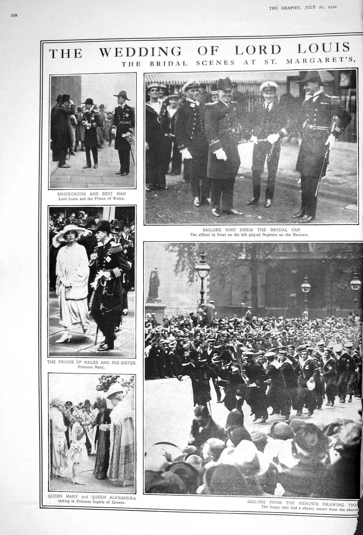 [Print 1922 Wedding Lord Louis Mountbatten Ashley Church Brook House Que 108M206 Old Original]