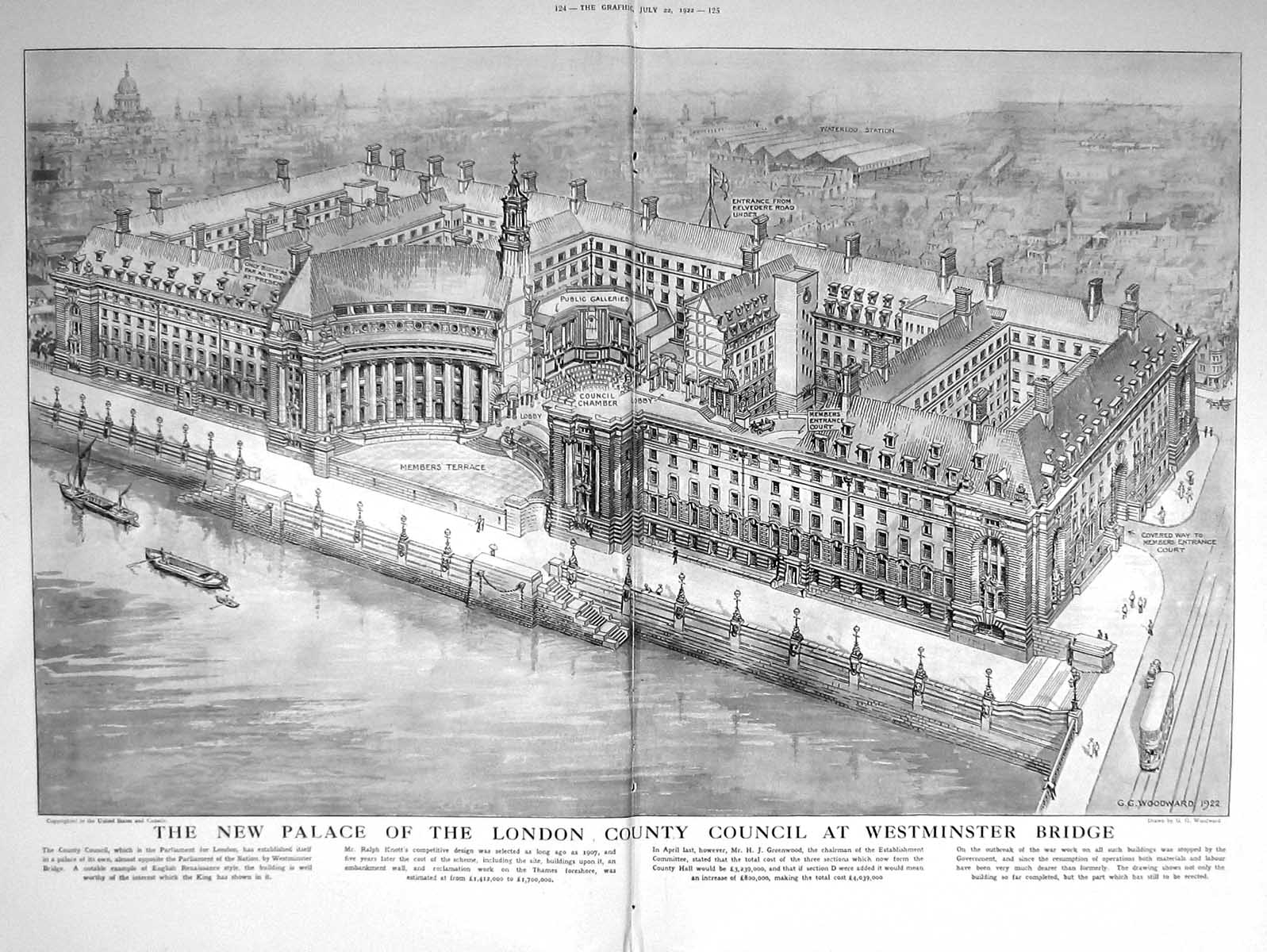 [Print 1922 Mountainerring Lauteret Guillaumes Palace London Council Wes 124Tm206 Old Original]