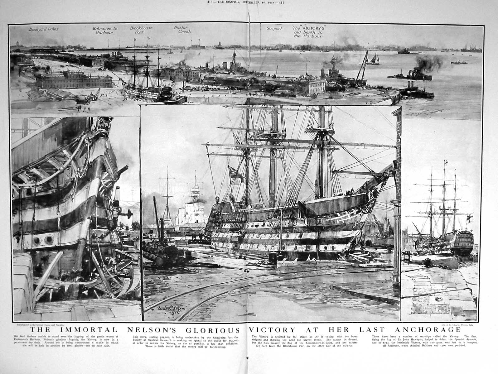 [Print 1922 Limpet Theatre Hubert Harben Nelson Ship Victory Portsmouth 410Tm206 Old Original]
