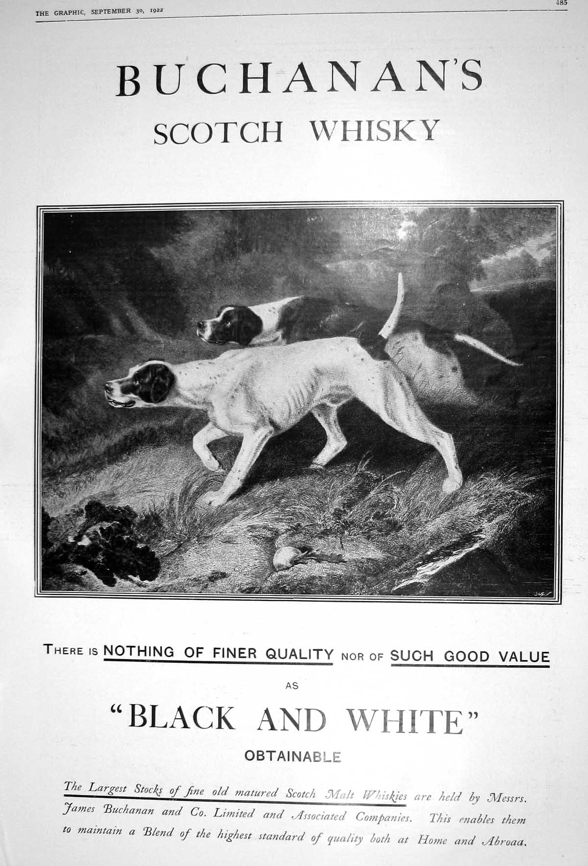 [Print 1922 Advertisement James Buchanan'S Scotch Whisky Hunting Dogs 485M206 Old Original]