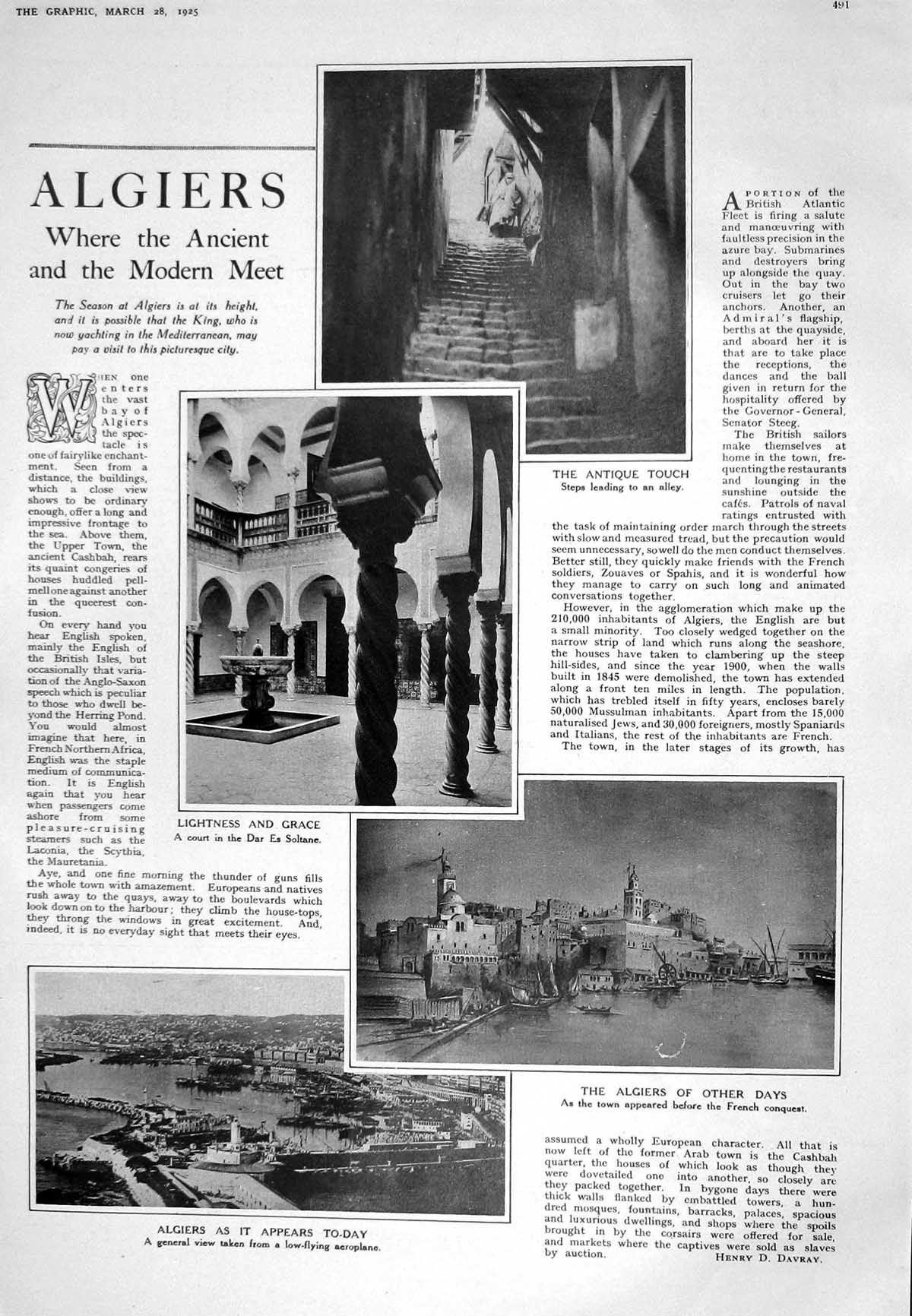[Print 1925 Algiers Alley Court Soltane Tiger Russia Wolf Chinese Dog Hu 491M211 Old Original]