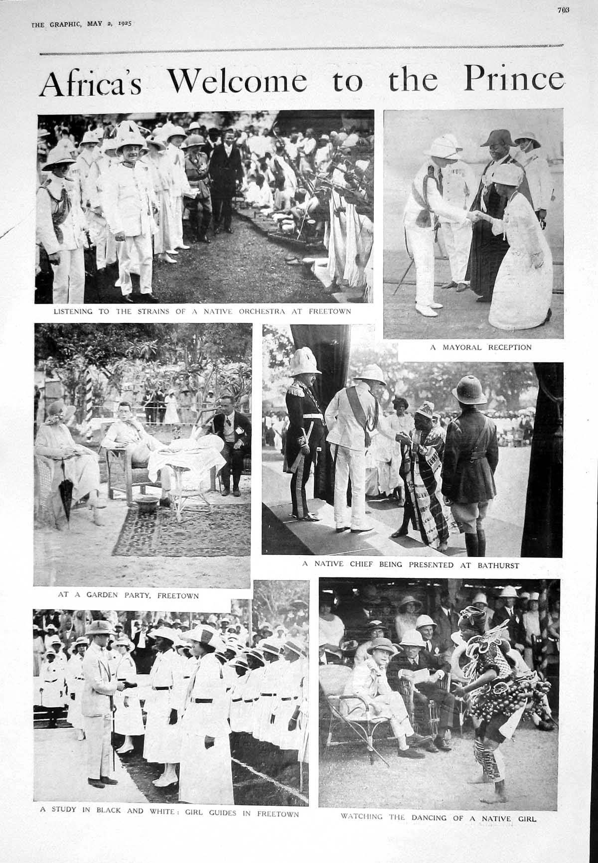 [Print 1925 Africa Prince Wales Orchestra Freetown Girl Guides Shawls Sp 703M211 Old Original]