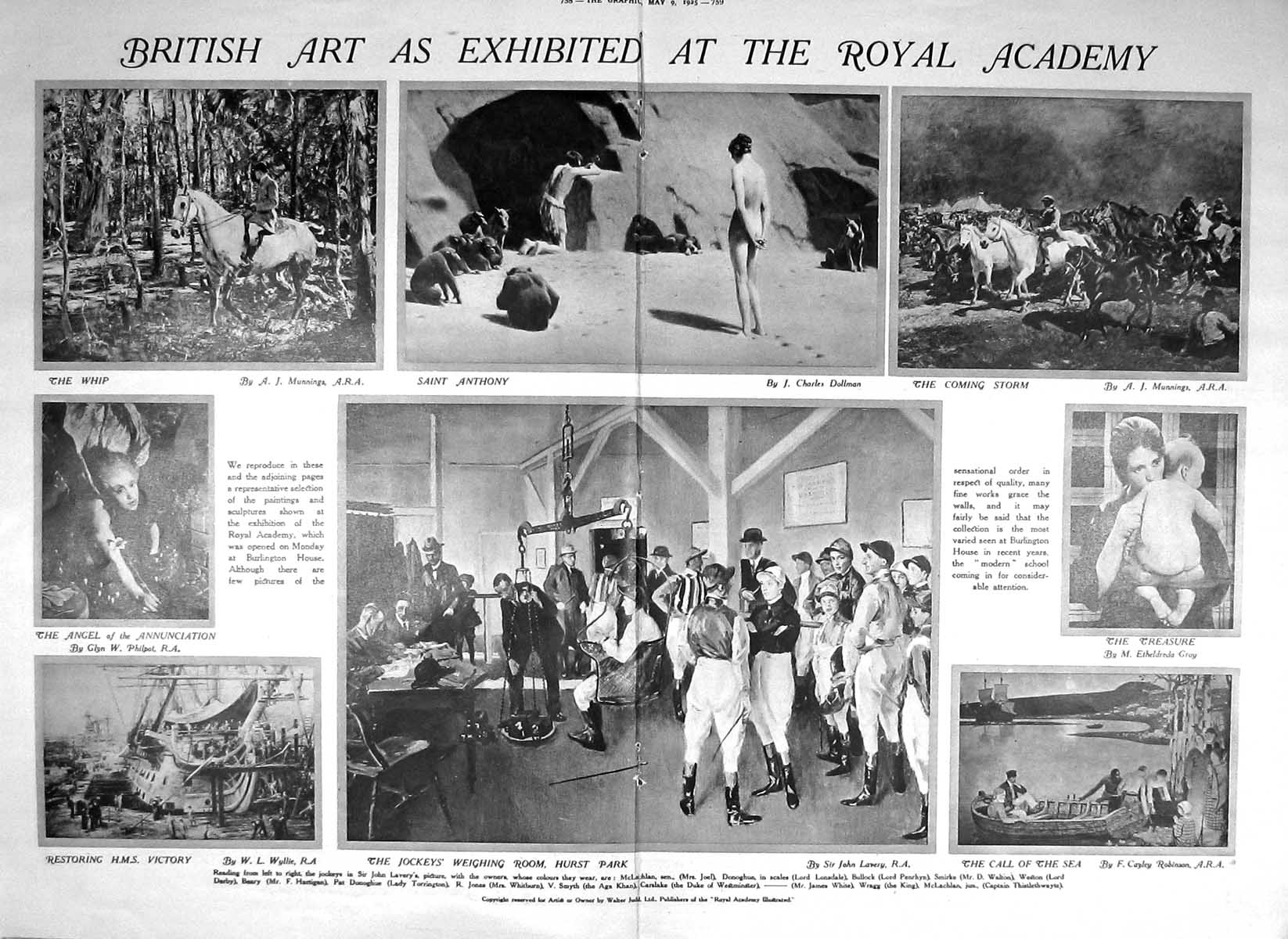 [Print 1925 Royal Academy Art Ledgard Lalbee Dineley Anthony Jockeys Vic 758Tm211 Old Original]
