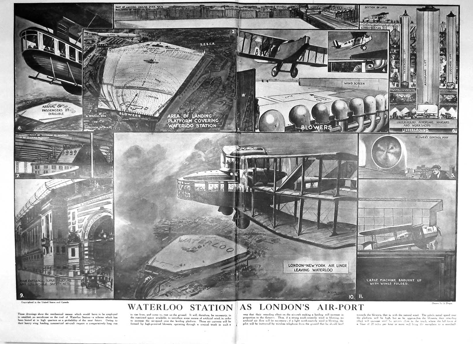 [Print 1925 Macmillan Kedleston Royal Academy Art Waterloo Air Liner Lon 806Tm211 Old Original]