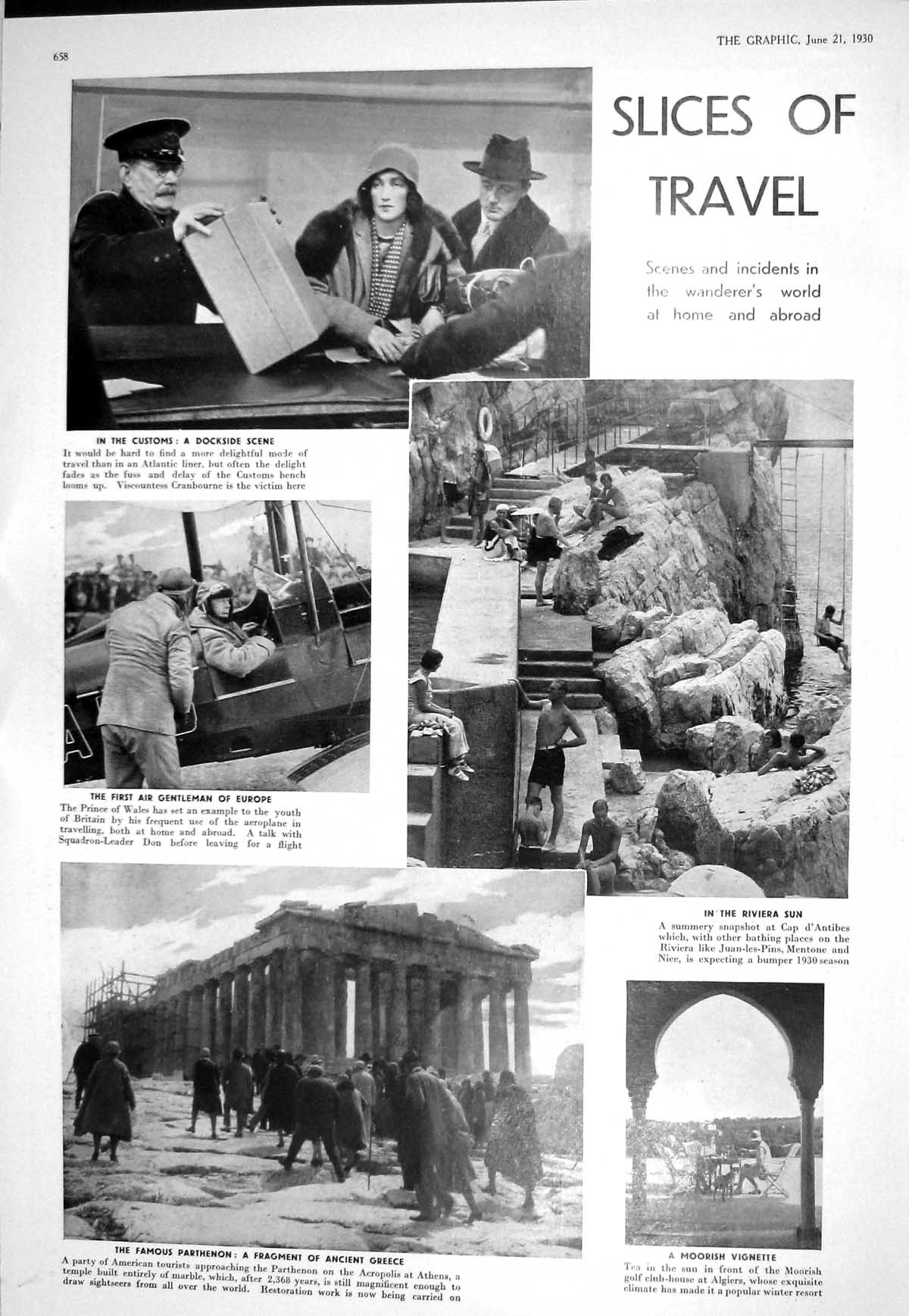 Print 1930 Travel Parthenon Athens Prince Wales Cranbourne Ladies Playi 658M228 Old Original