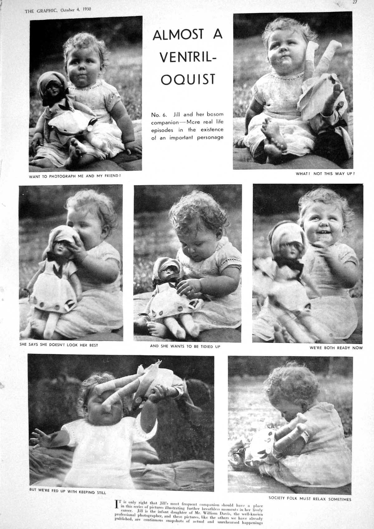 [Print 1930 Little Girl Jill William Davis Toy Dolls Photograph 027M230 Old Original]