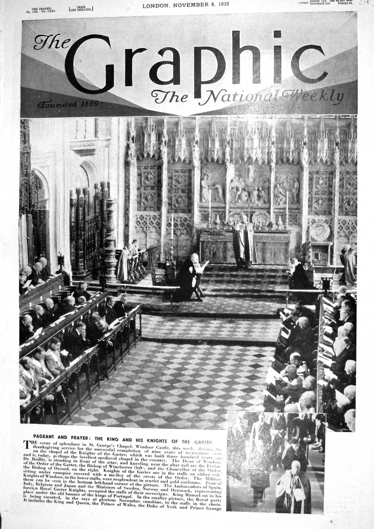 [Print 1930 St. George'S Chapel Windsor Castle Thanksgiving Service Gart 245M230 Old Original]