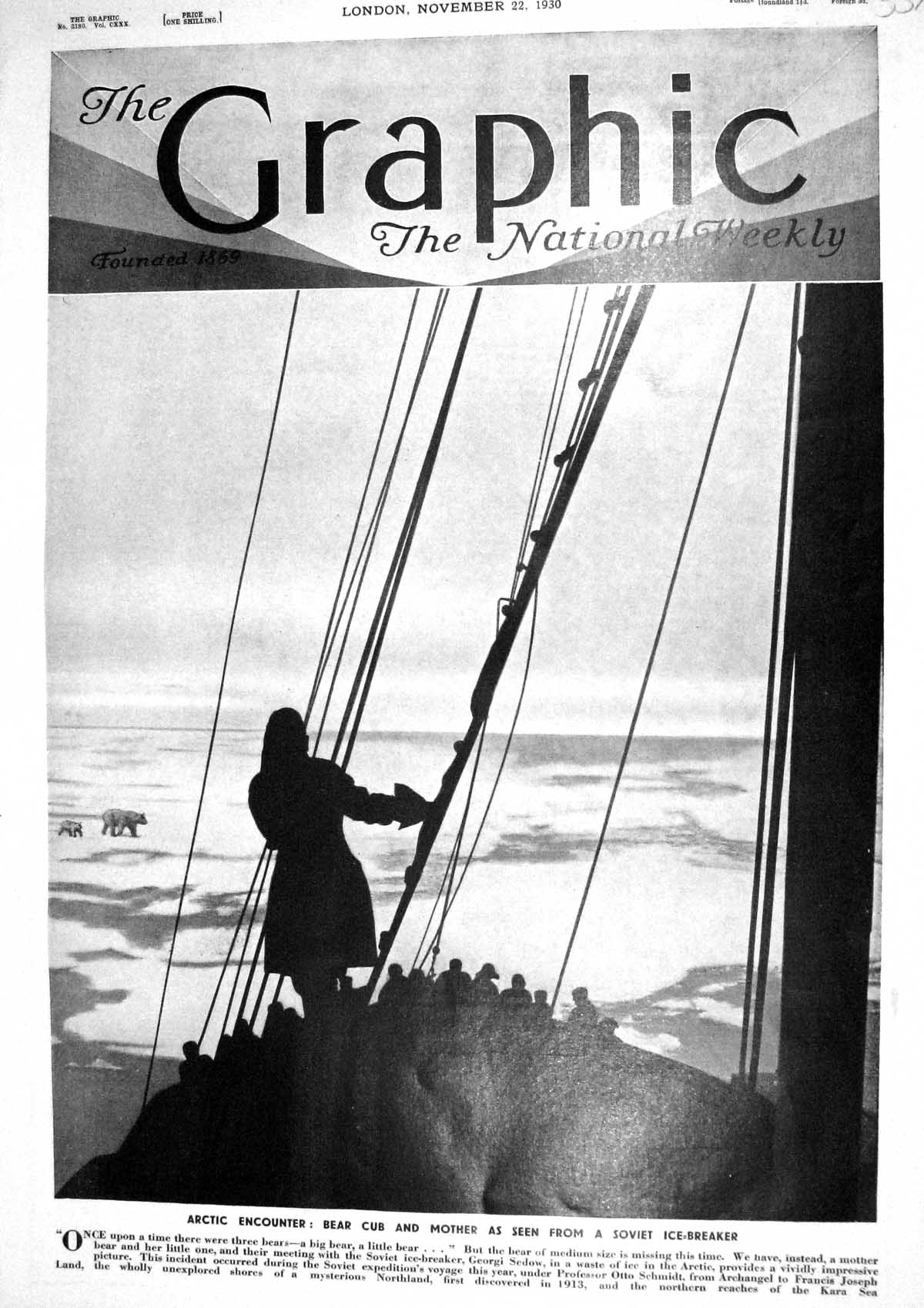 [Print 1930 Arctic Bear Cub Soviet Ice Breakers Georgi Sedow Ship Franci 337M230 Old Original]