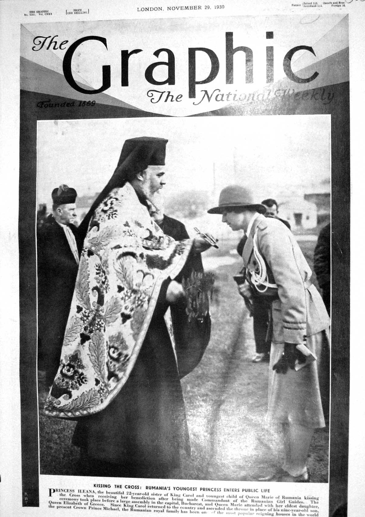 [Print 1930 Princess Ileana Queen Elizabeth Greece Rumanian Royal Family 385M230 Old Original]
