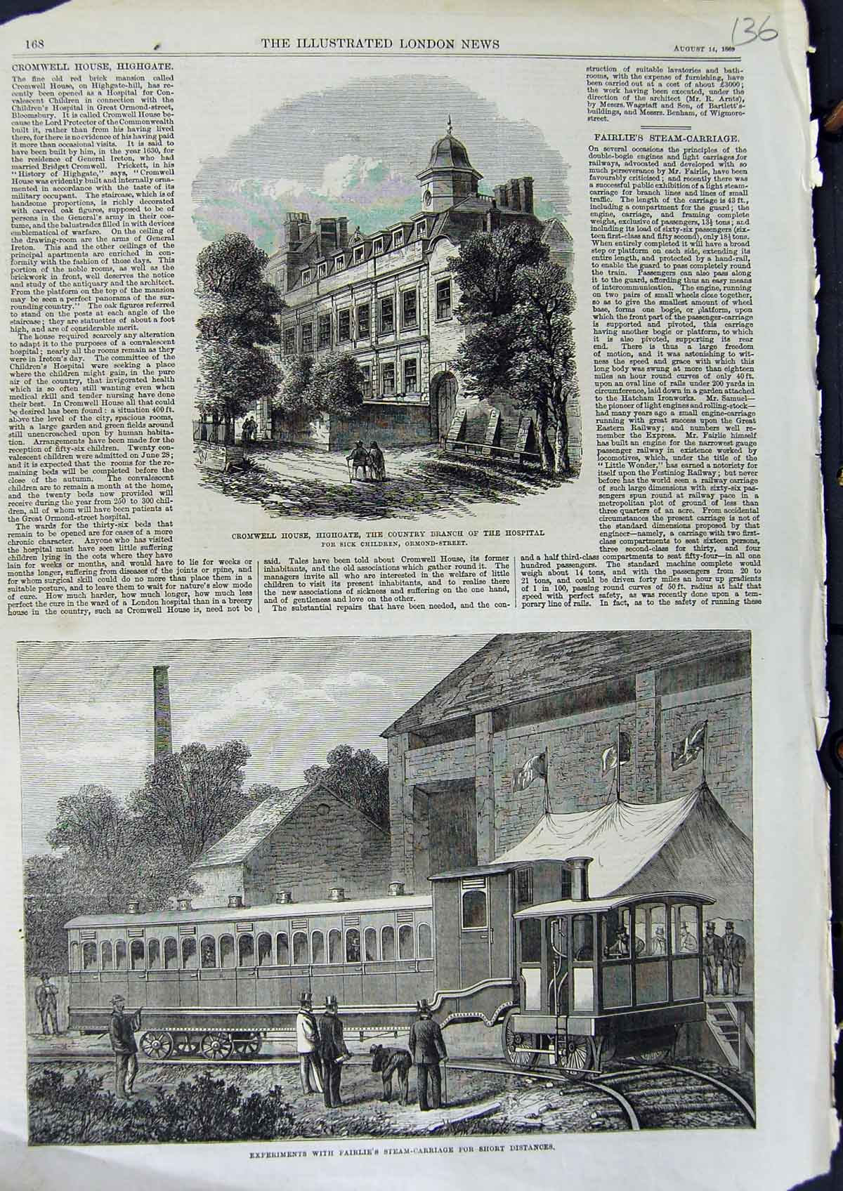 [Print 1869 Cromwell Highgate Hospital Fairlie Steam-Carriage 136N323 Old Original]