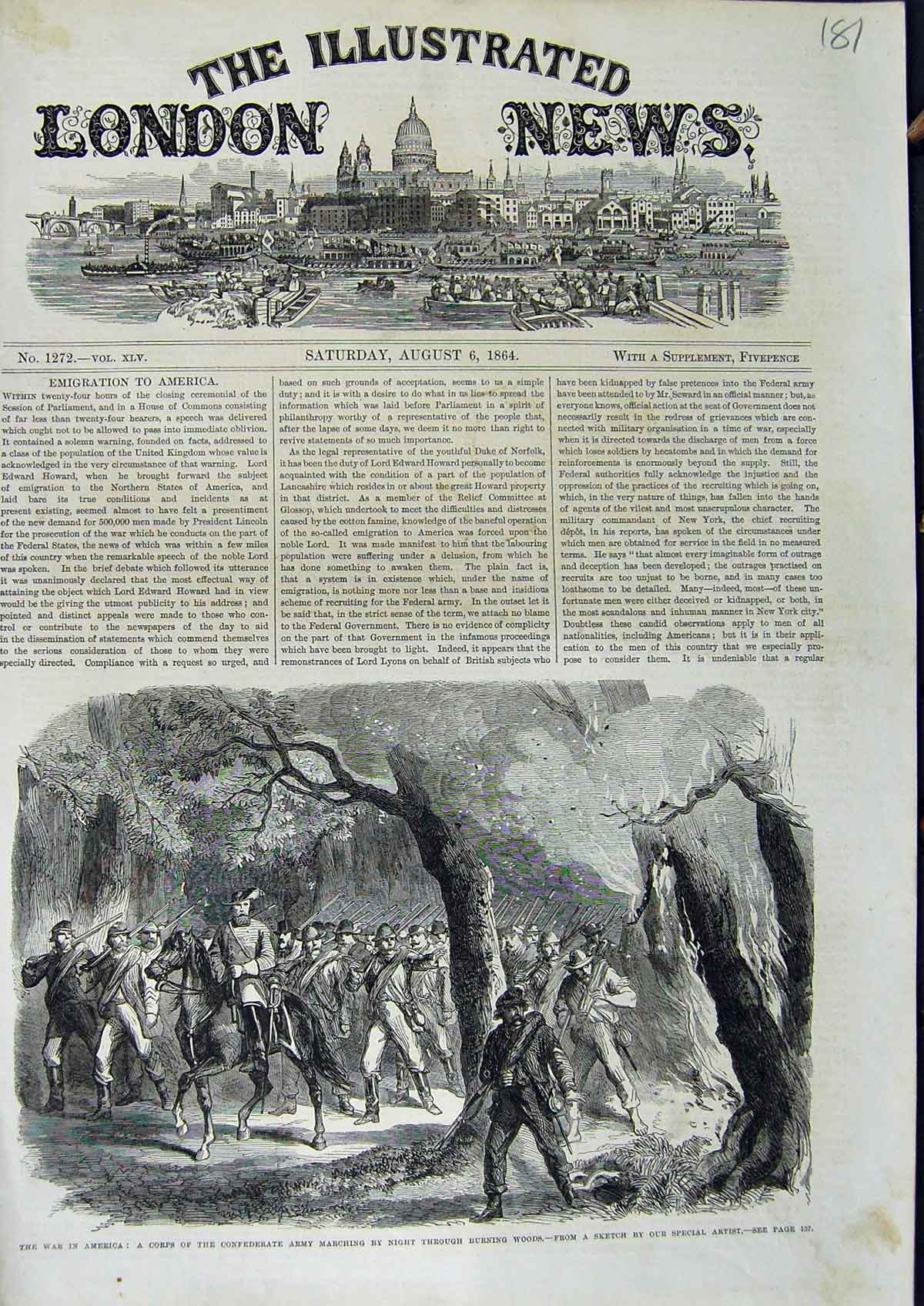 [Print 1864 War America Soldiers Civil War Army Woods 181N323 Old Original]