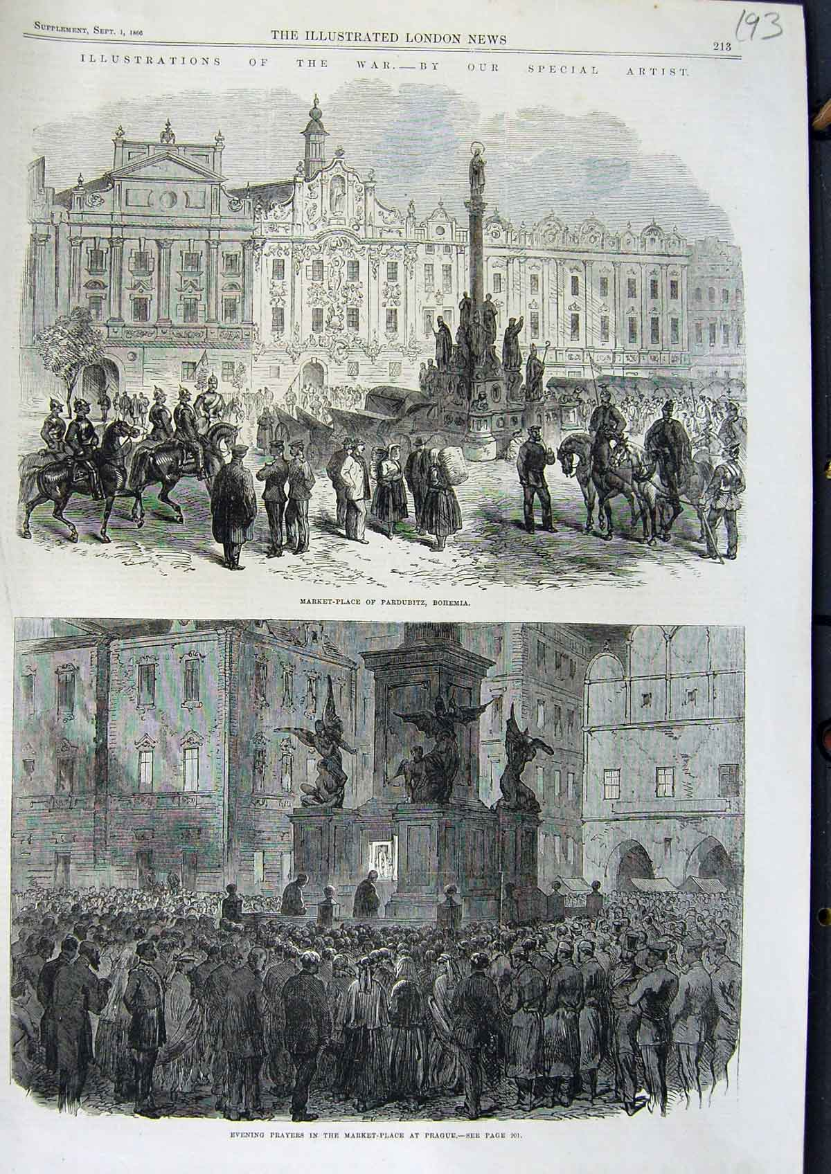 [Print 1866 War Market Place Pardubitz Bohemia Prague 193N323 Old Original]
