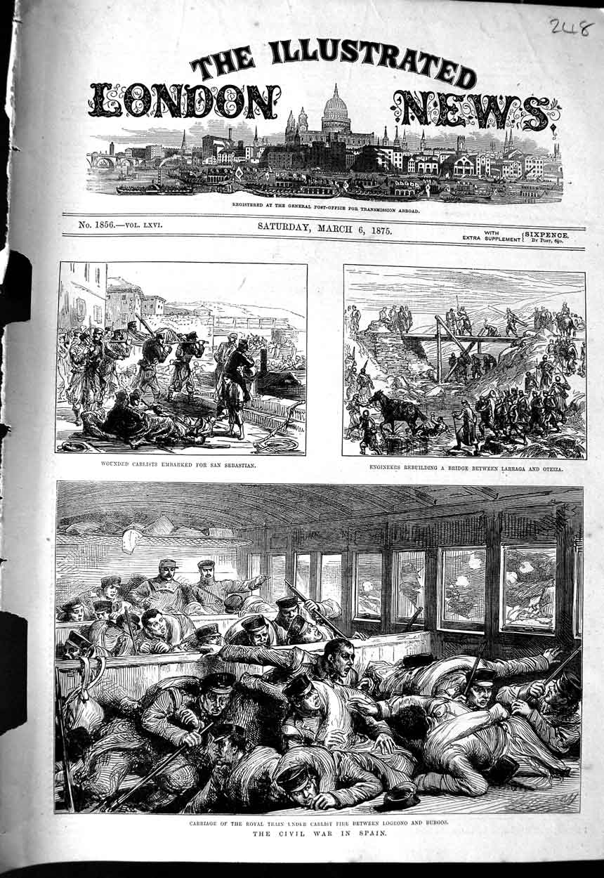 [Print 1875 Civil War Spain Train Carlists Logrono Larraga 248N323 Old Original]