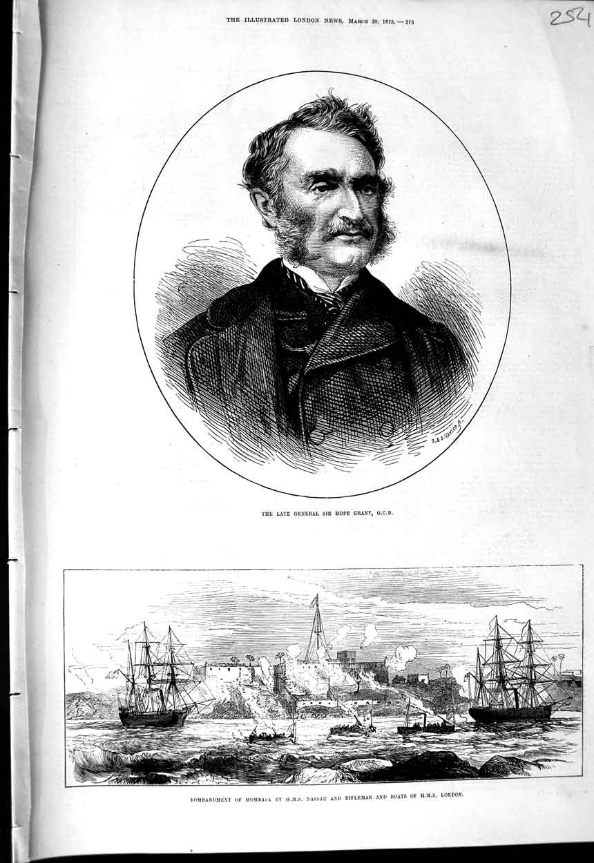 [Print 1875 General Hope Grant War Mombasa Nassau Ship London 254N323 Old Original]