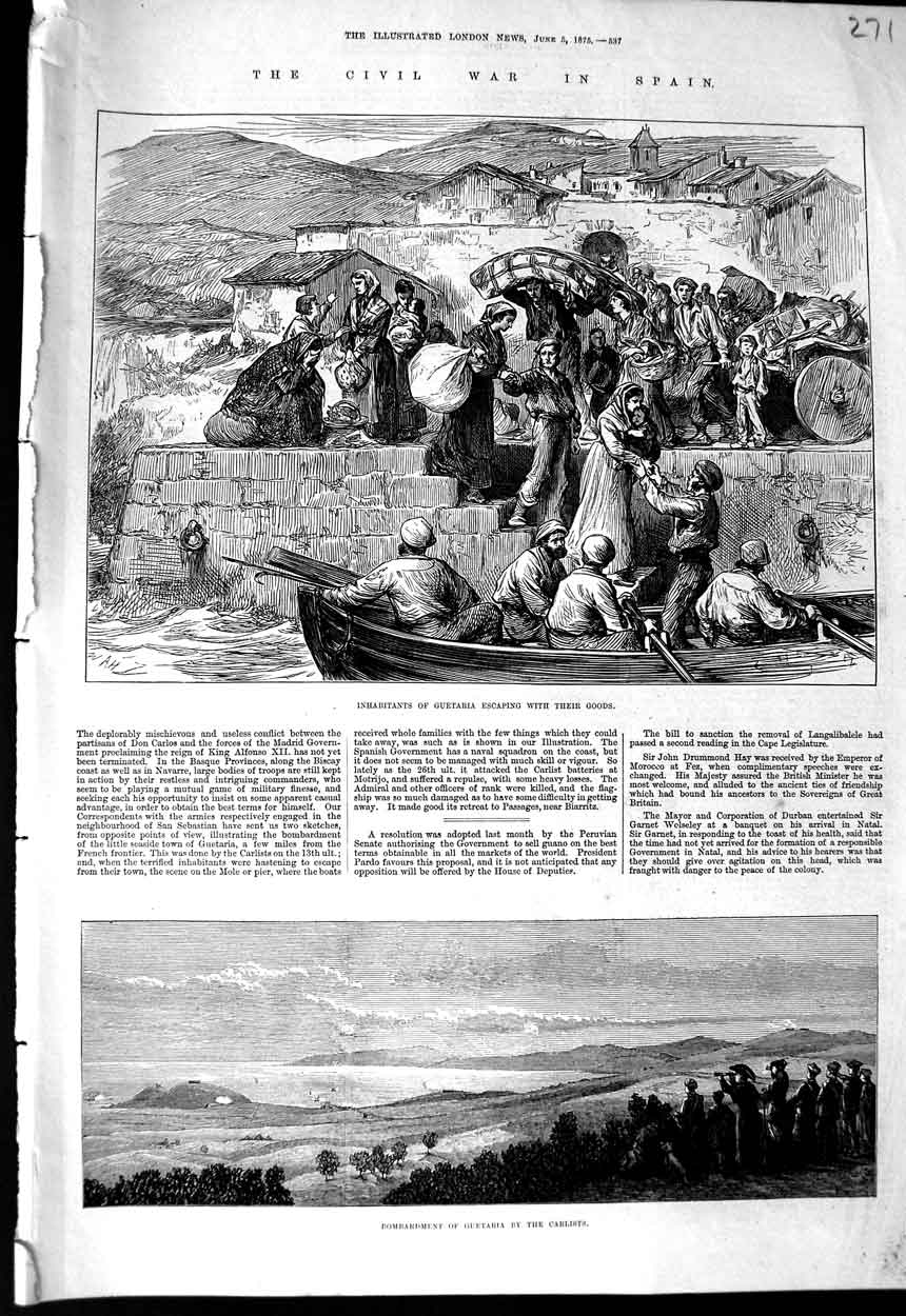 [Print Civil War Spain Guetaria Bombardment Carlists 1875 271N323 Old Original]