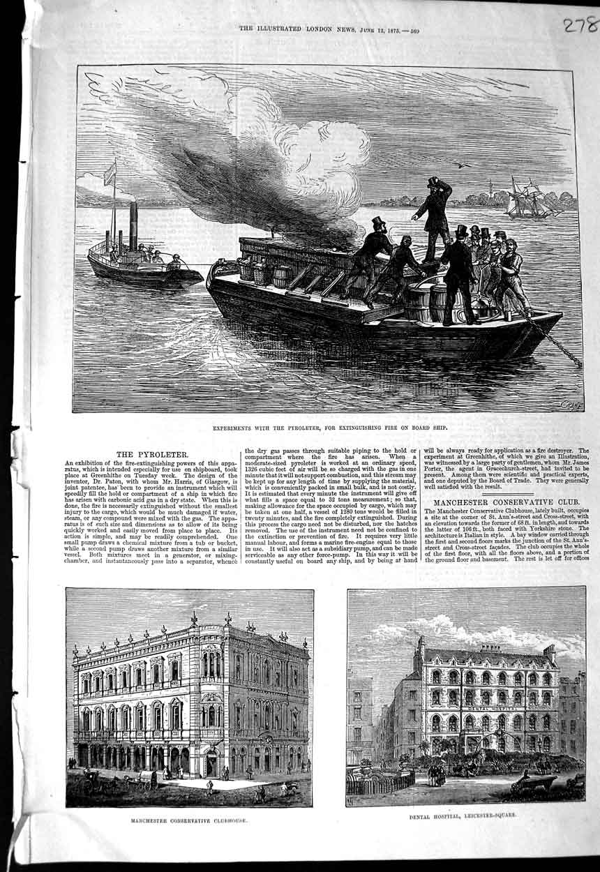 [Print 1875 Experiments Pyroleter Dental Hospital Manchester 278N323 Old Original]