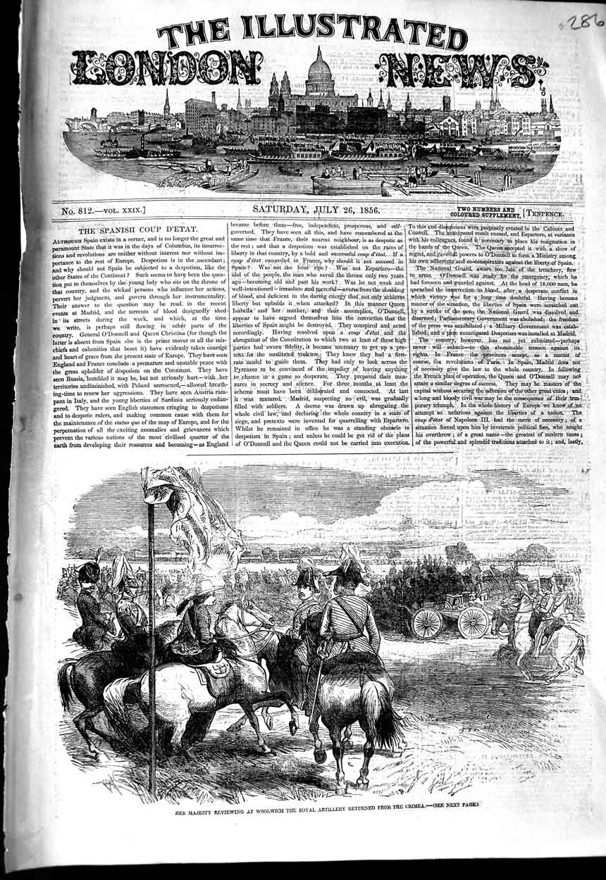 [Print *3114 1856 Majesty Queen Woolwich Royal Artillery Crimea War 286N323 Old Original]