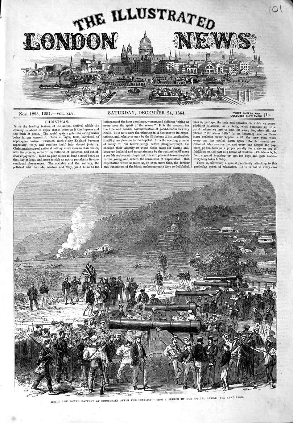 [Print 1864 Lower Battery Simonosaki Conflict War Soldiers 101N324 Old Original]