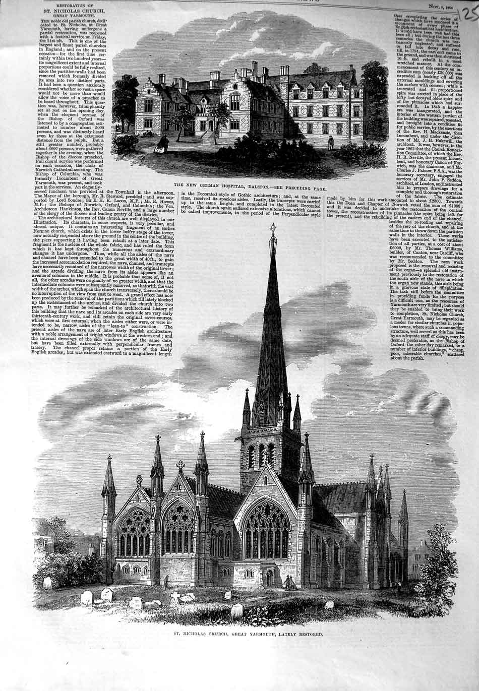[Print Nicholas Church Yarmouth 1864 German Hospital Dalston 125N324 Old Original]